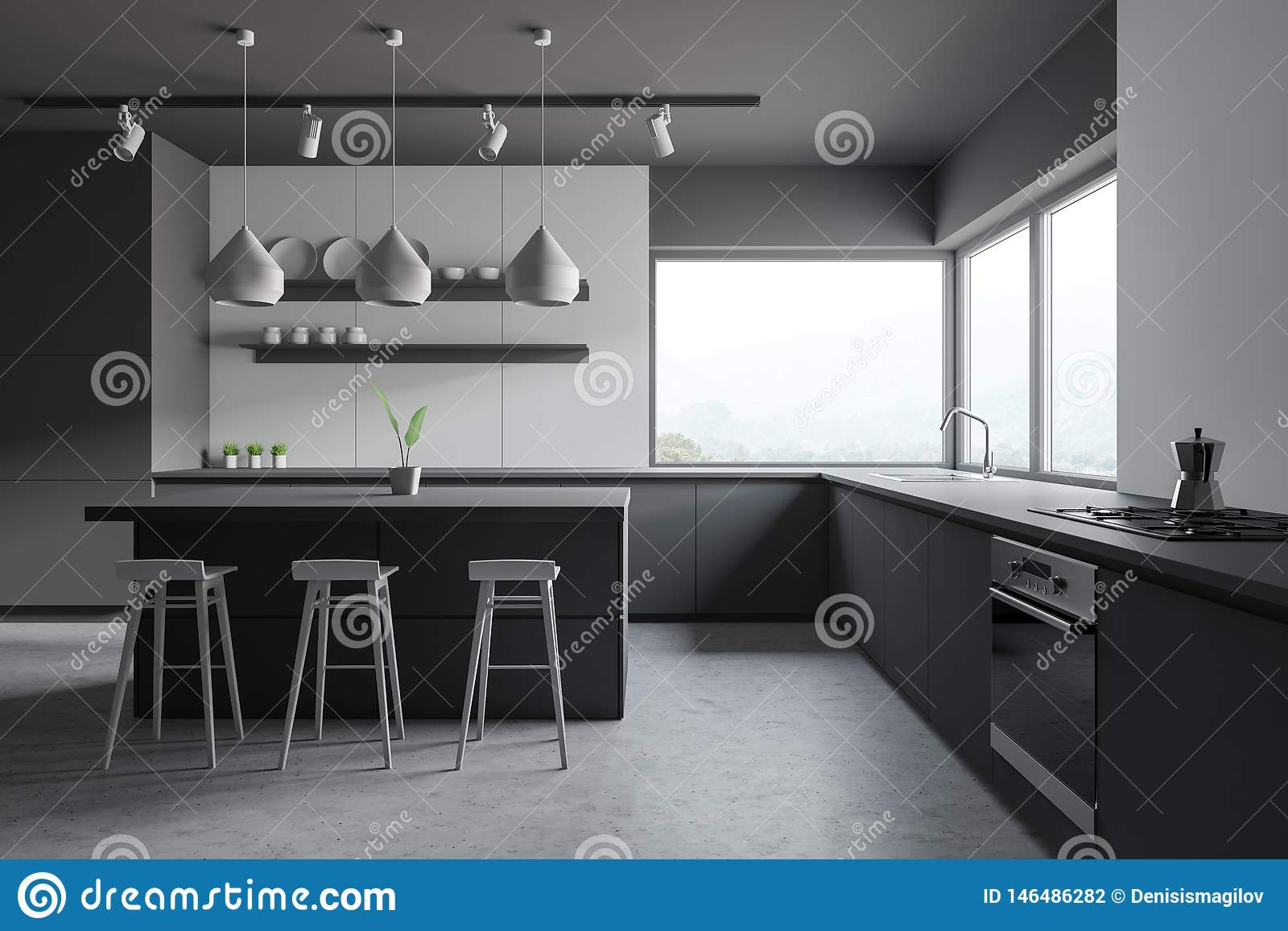 Image of: Gray And Wooden Kitchen Bar And Stools Stock Illustration Illustration Of Island Luxury 146486282