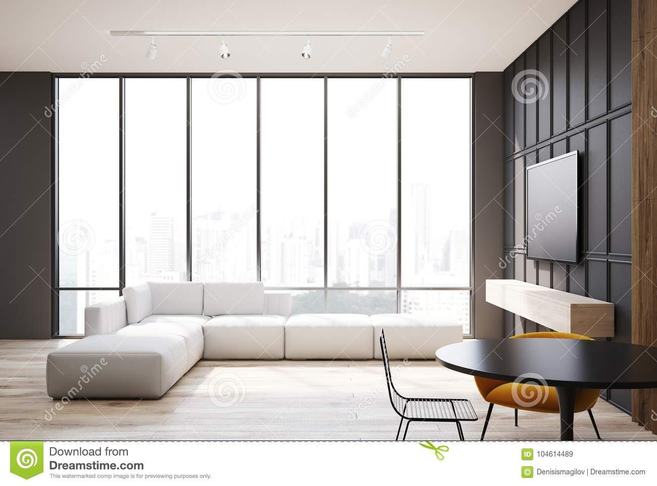 Gray And Wooden Living Room Tv Set And Sofa
