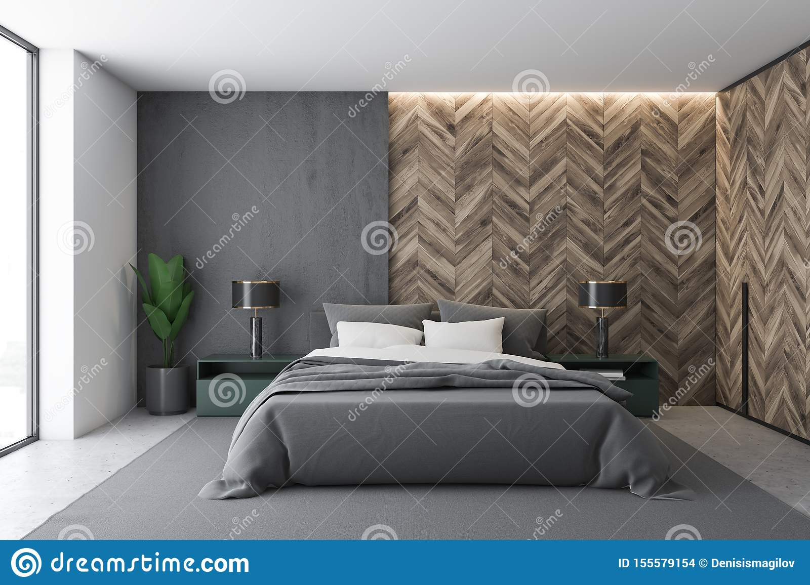 Picture of: Gray And Wooden Master Bedroom Interior Stock Illustration Illustration Of Architecture Luxury 155579154