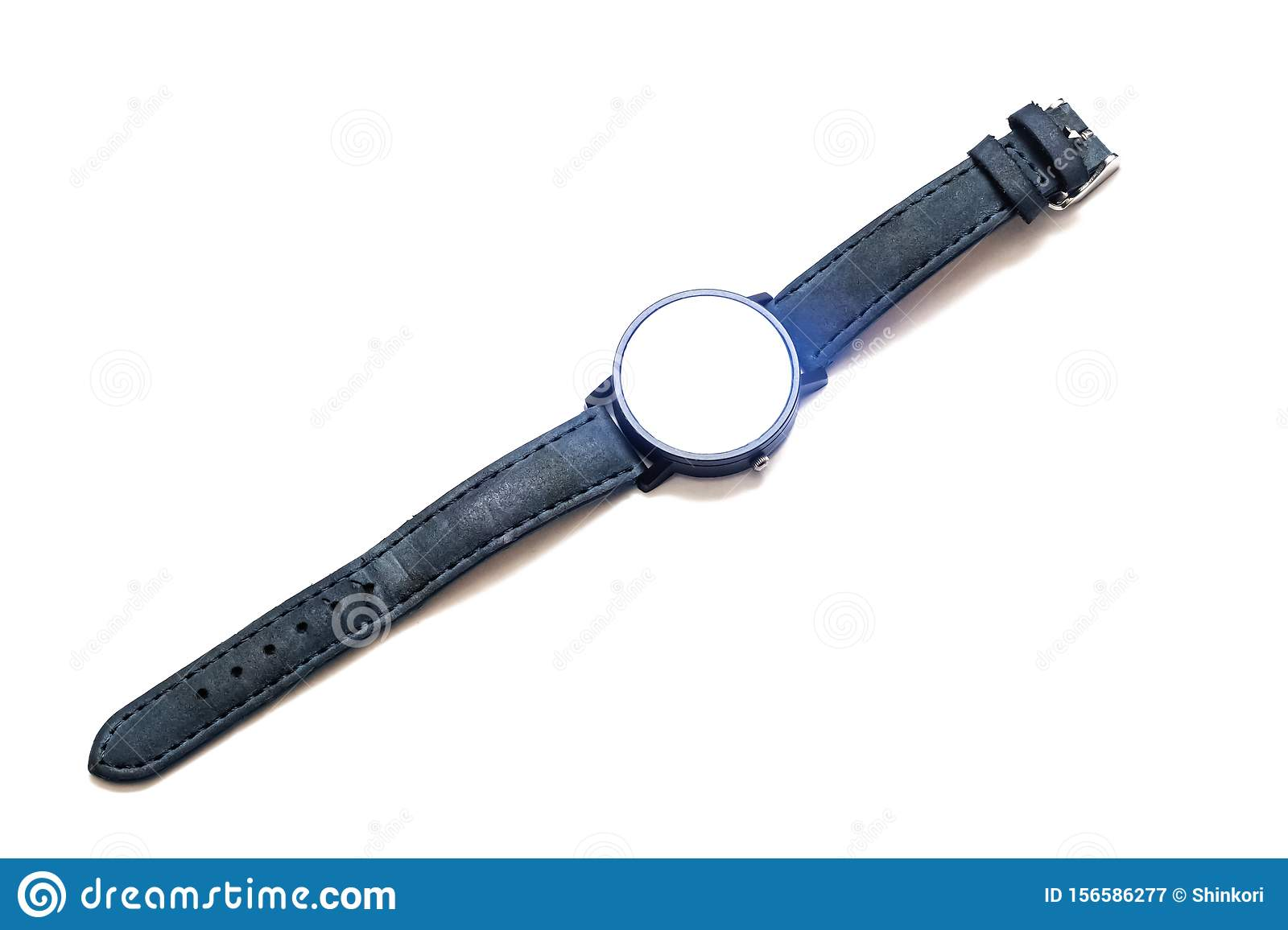 Gray wrist watch, isolated on white background