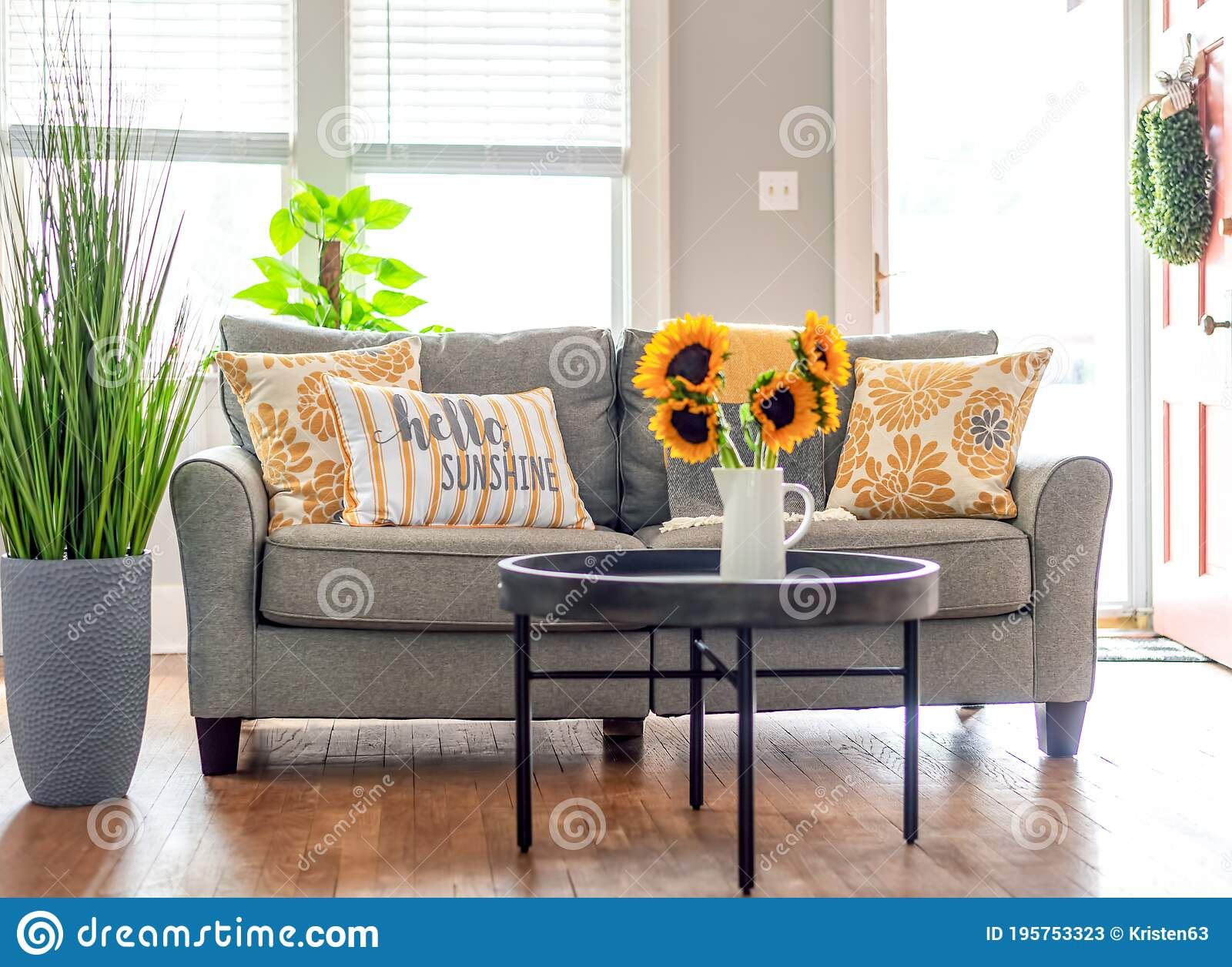 Gray And Yellow Living Room Decor In Bright Sunlight Stock Image Image Of Accent Cute 195753323