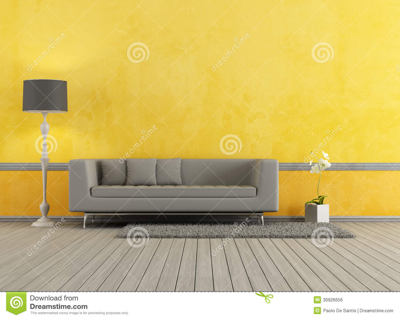 gray and yellow living room royalty free stock image - image: 30926656