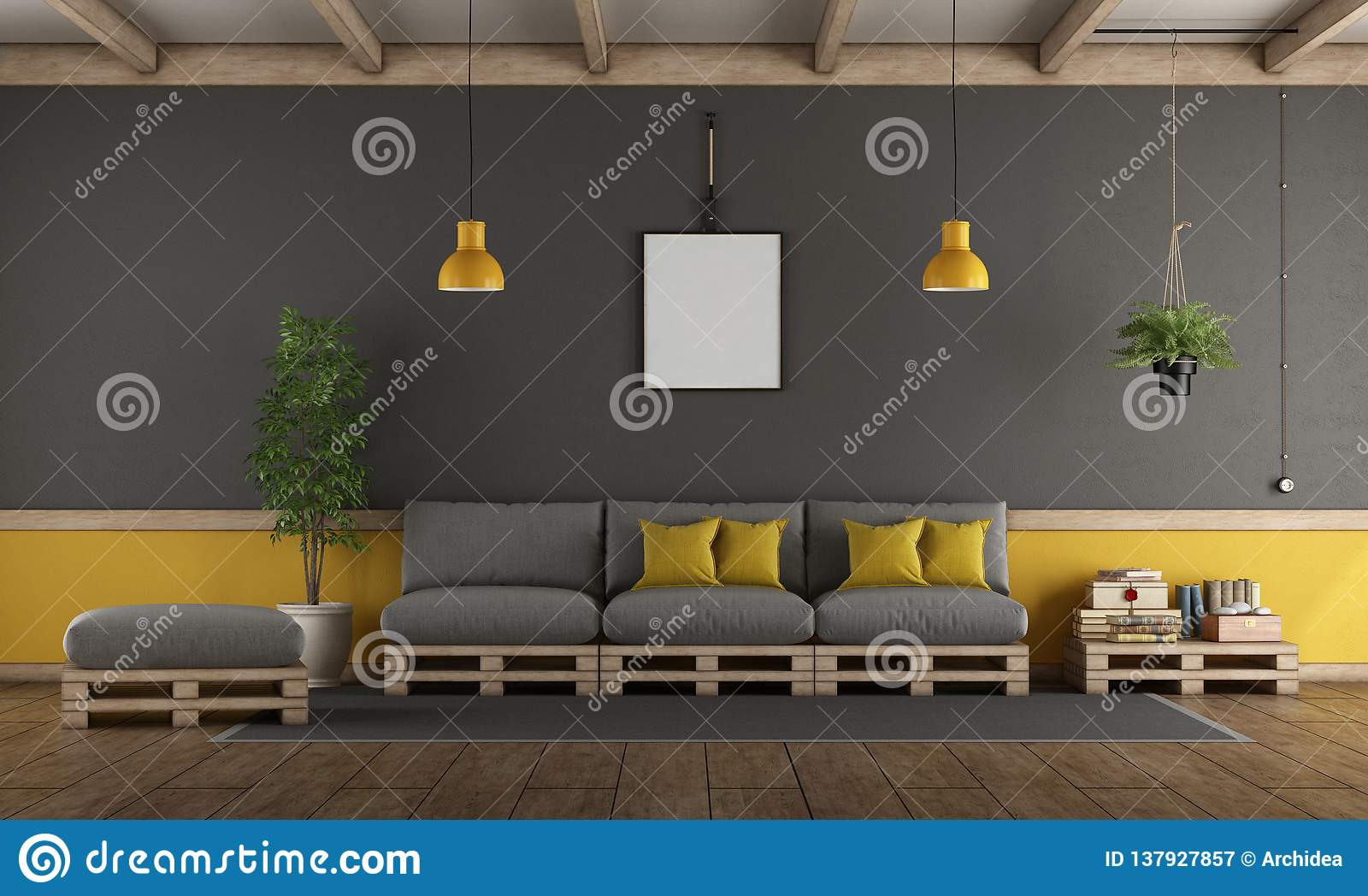 Gray And Yellow Living Room With Pallet Sofa Stock Illustration Illustration Of Clock Pallet 137927857
