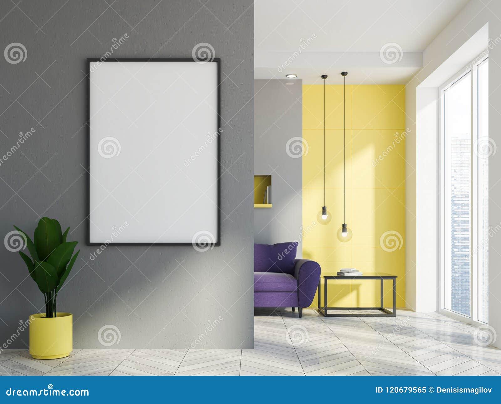 Gray And Yellow Living Room, Purple Sofa, Poster Stock Illustration ...