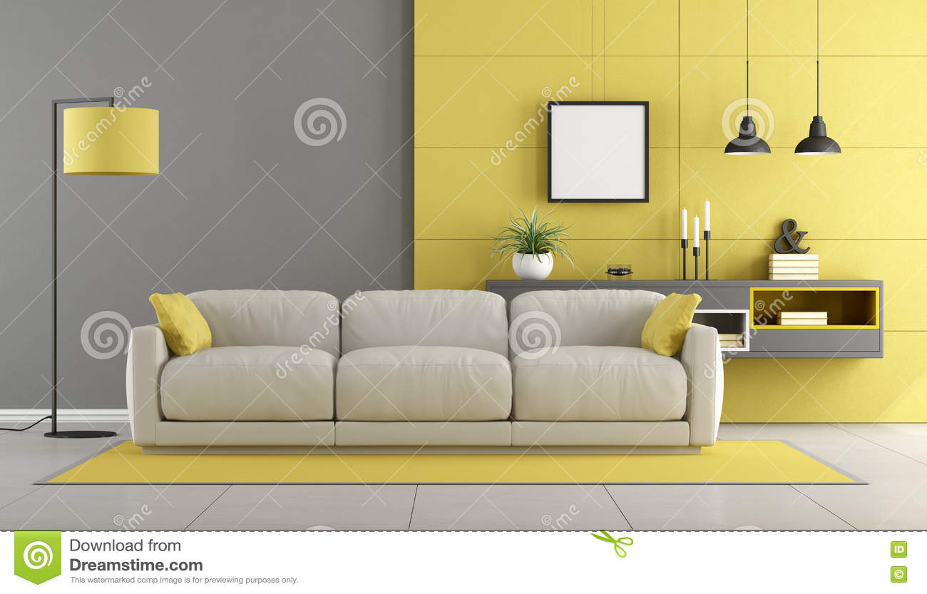 Gray And Yellow Modern Lounge Stock Illustration - Image: 73655858