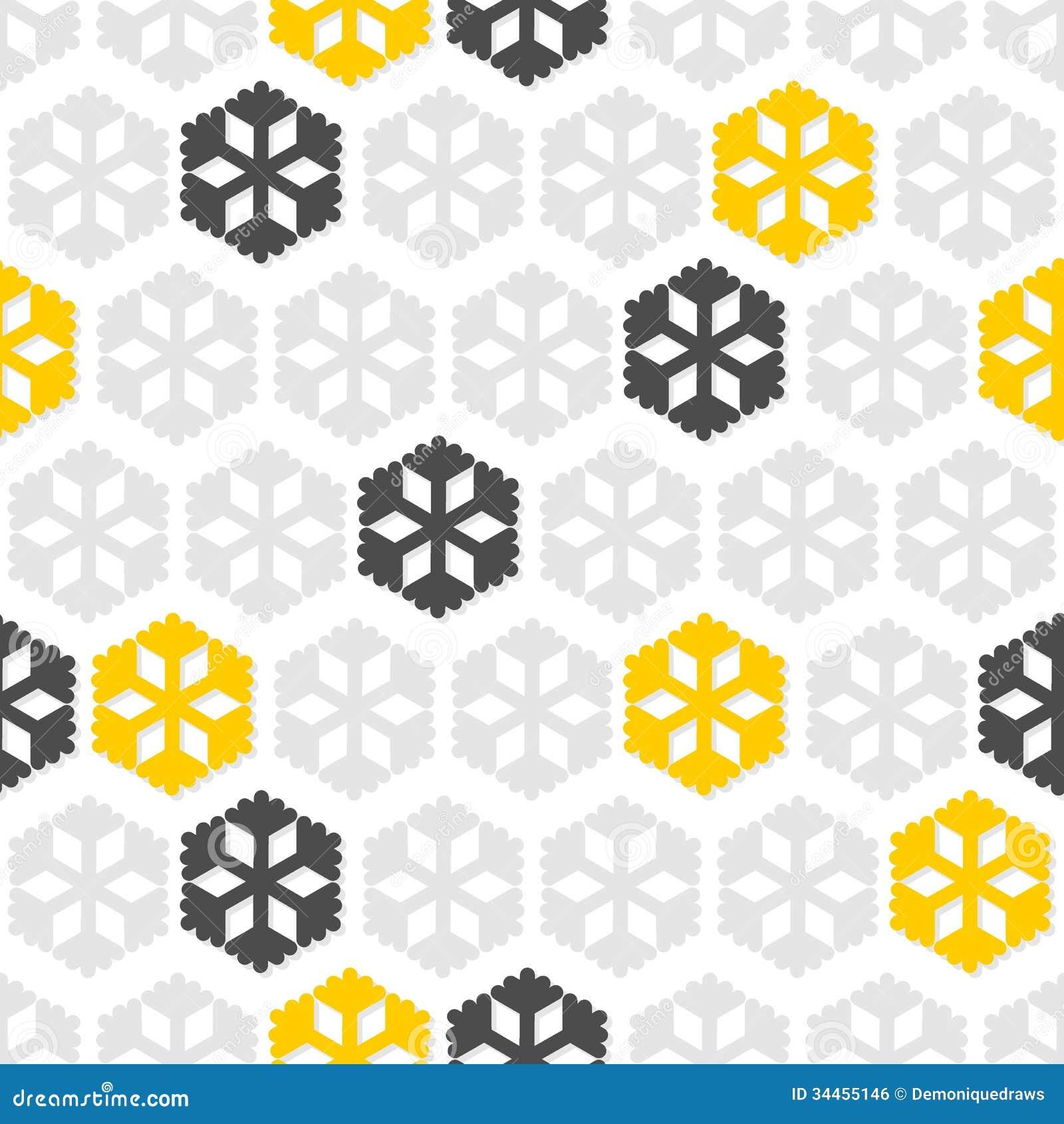 Gray Yellow Snowflakes...