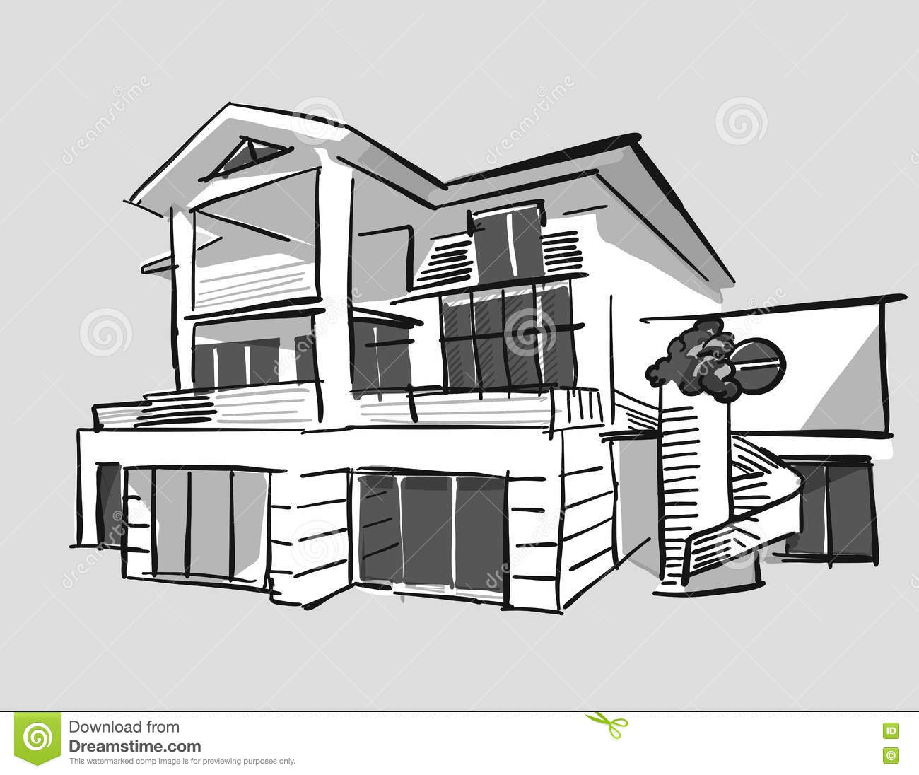 Grayscale Drawing Dream House Stock Vector Image 81728197