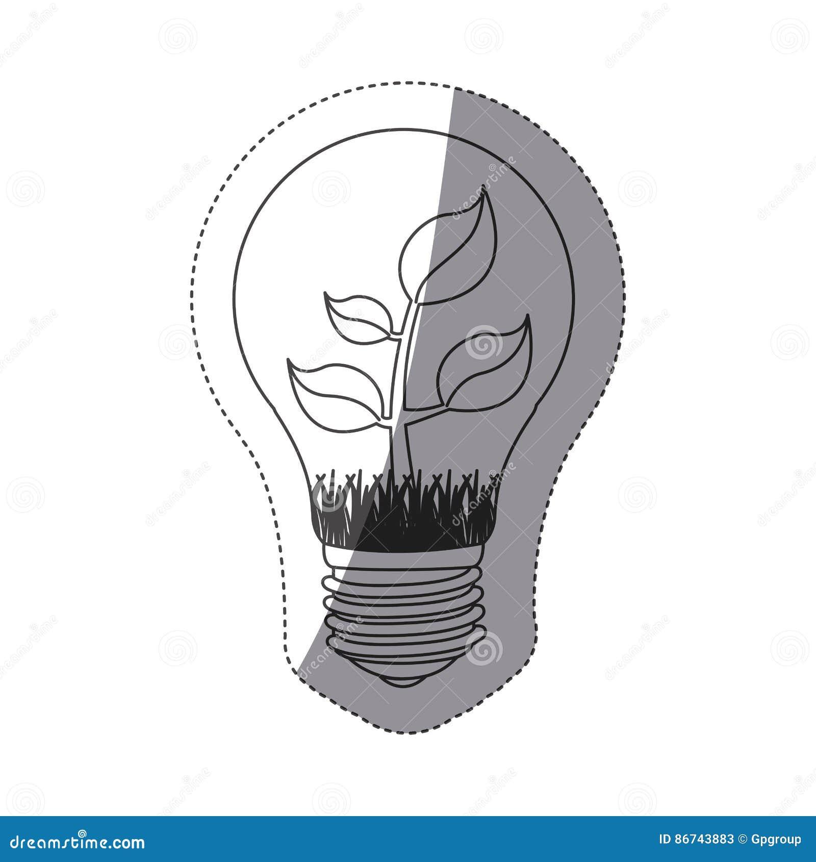 Grayscalekonturnaufkleber mit Birnenlicht und -anlage mit Stamm und Blättern