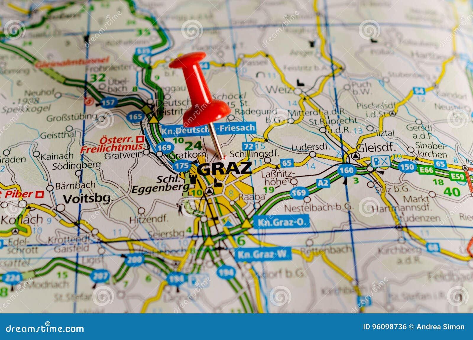Karte Graz.Graz Auf Karte Stockfoto Bild Von Zustand Osterreich