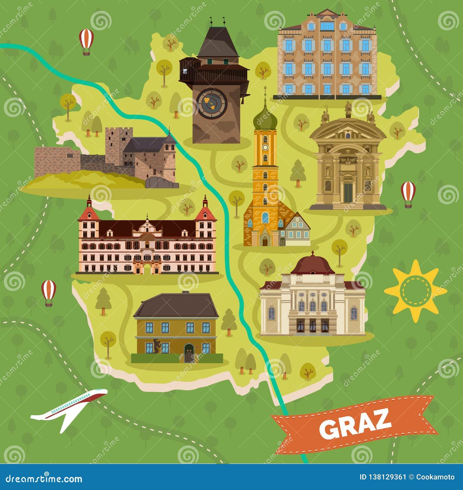 Graz stadöversikt med sightgränsmärken
