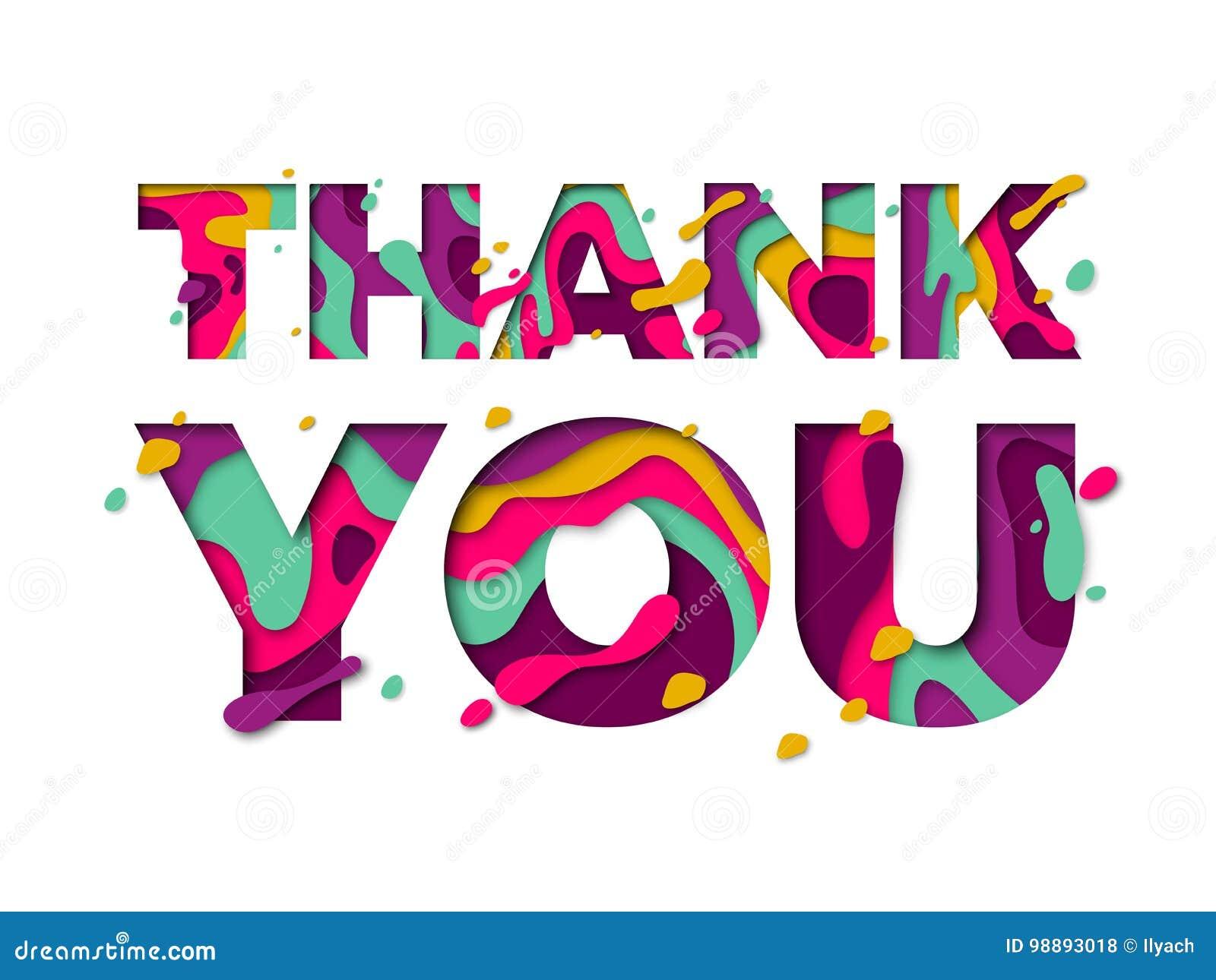 Grazie testo della fonte di colore del taglio della carta - Ringraziamento tacchino al colore ...