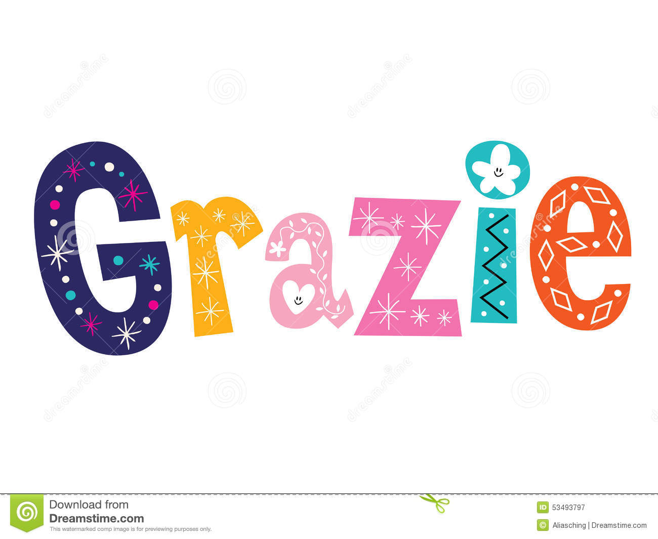 Grazie Thank You Thanks In Italian Lettering Design Stock Vector ...