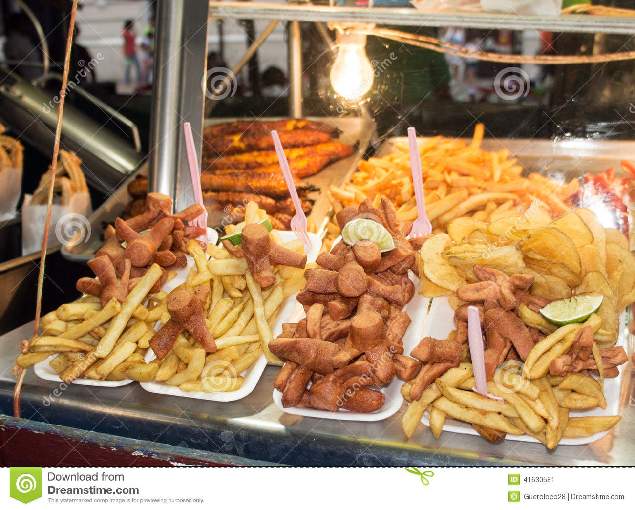 Greasy Street Food Of Hotdogs And French Fries Stock Photo ...