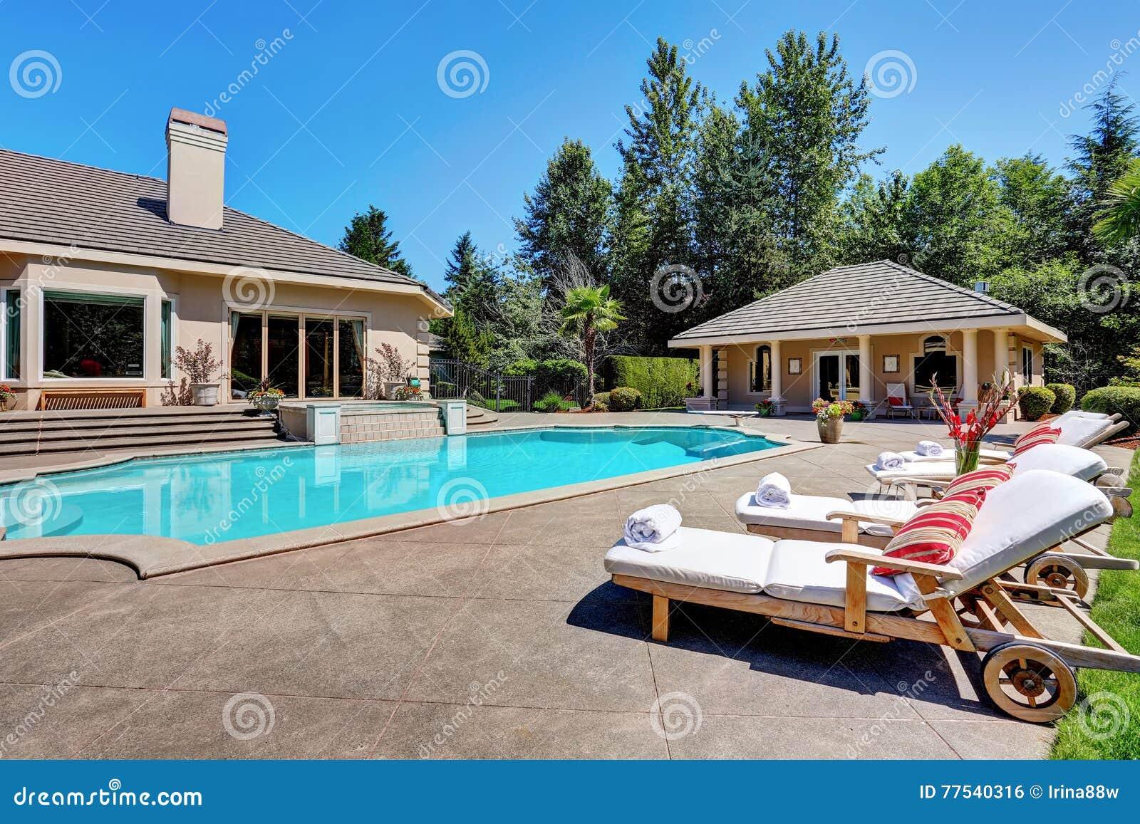 Great Backyard With Swimming Pool American Suburban Luxury House Stock Photo Image Of Door