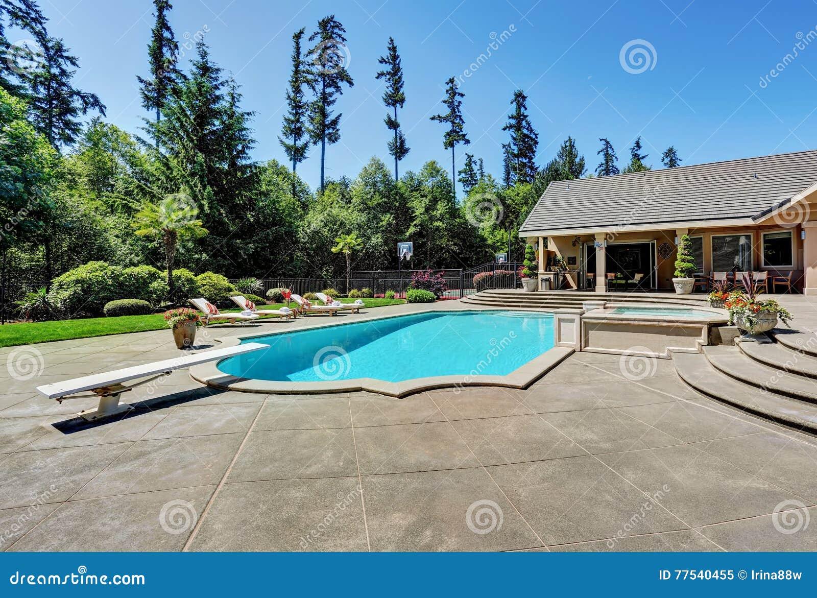 Great Backyard With Swimming Pool . American Suburban ...