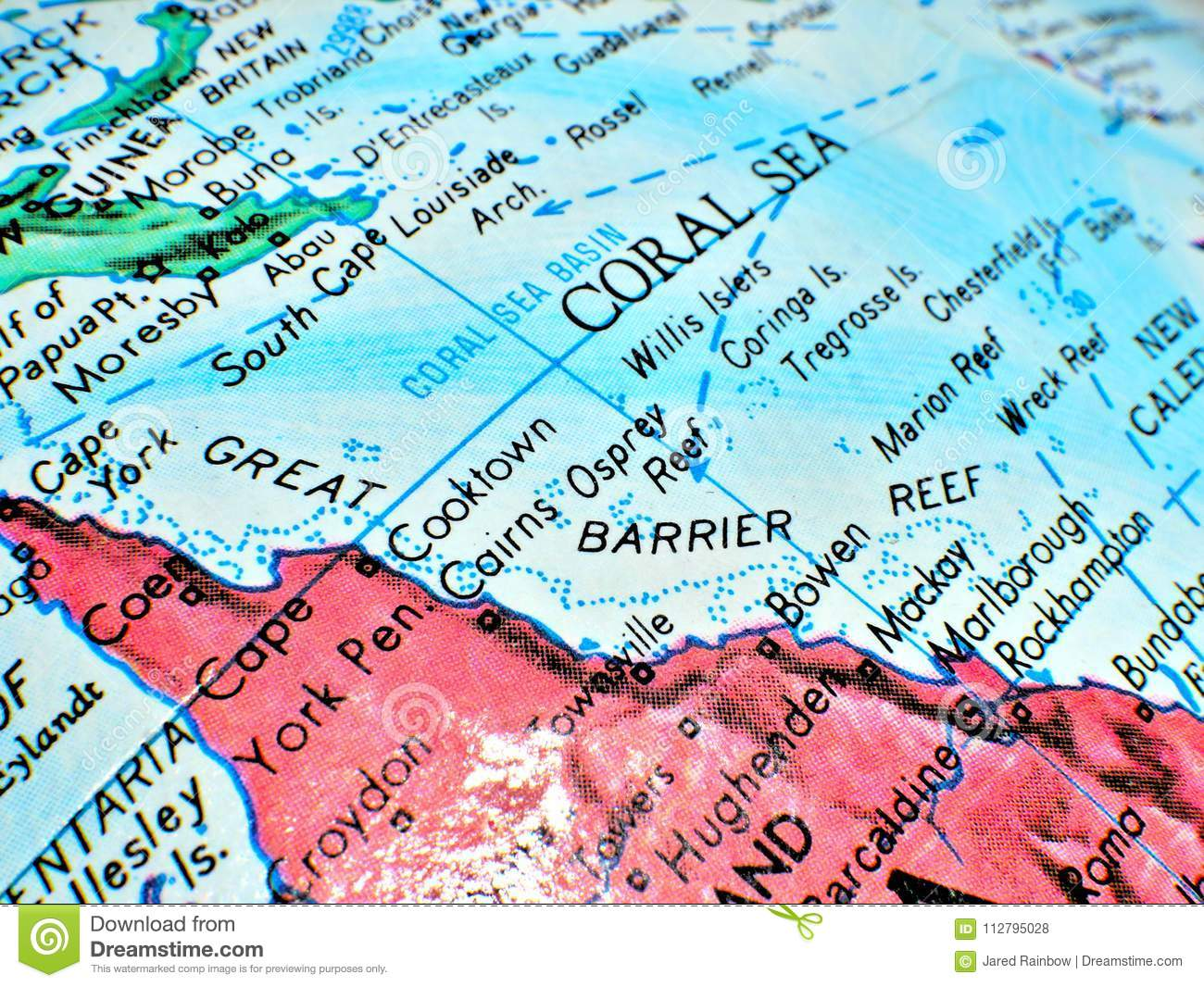 Barrier Reef Australia Map.Great Barrier Reef Coral Sea Australia Focus Macro Shot On Globe Map