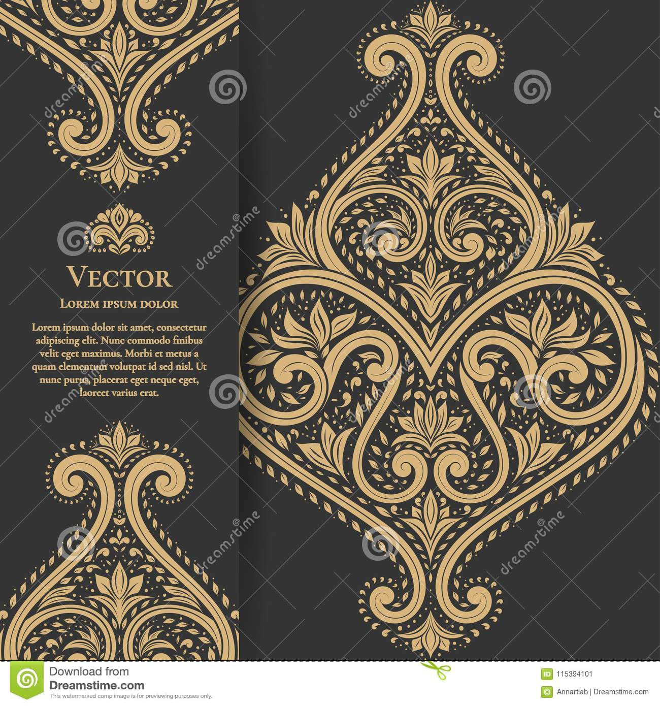 Black Invitation Card With Golden Leaves Ornament Stock
