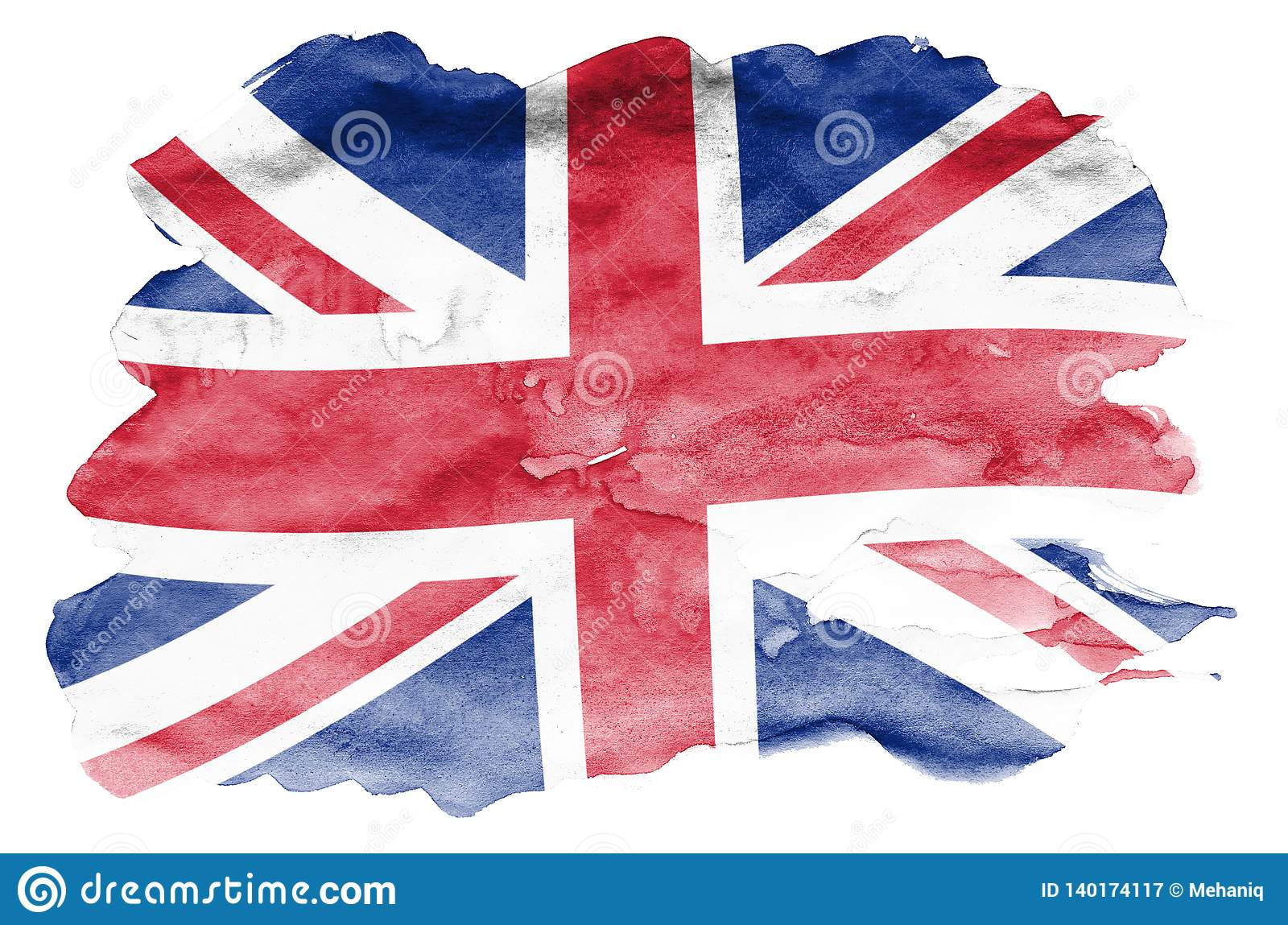 Great britain flag is depicted in liquid watercolor style isolated on white background