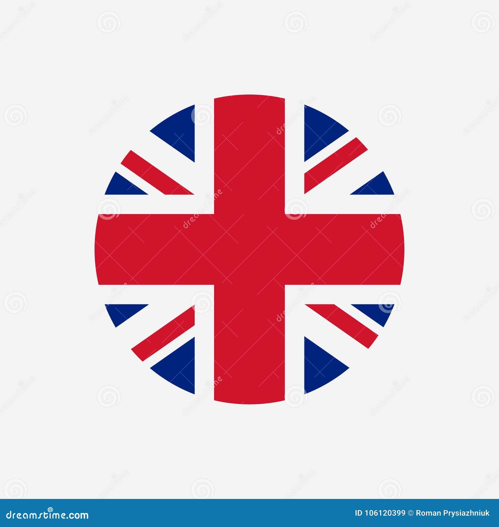 Great Britain flag. Union Jack round logo. Circle icon of United Kingdom flag. Vector.