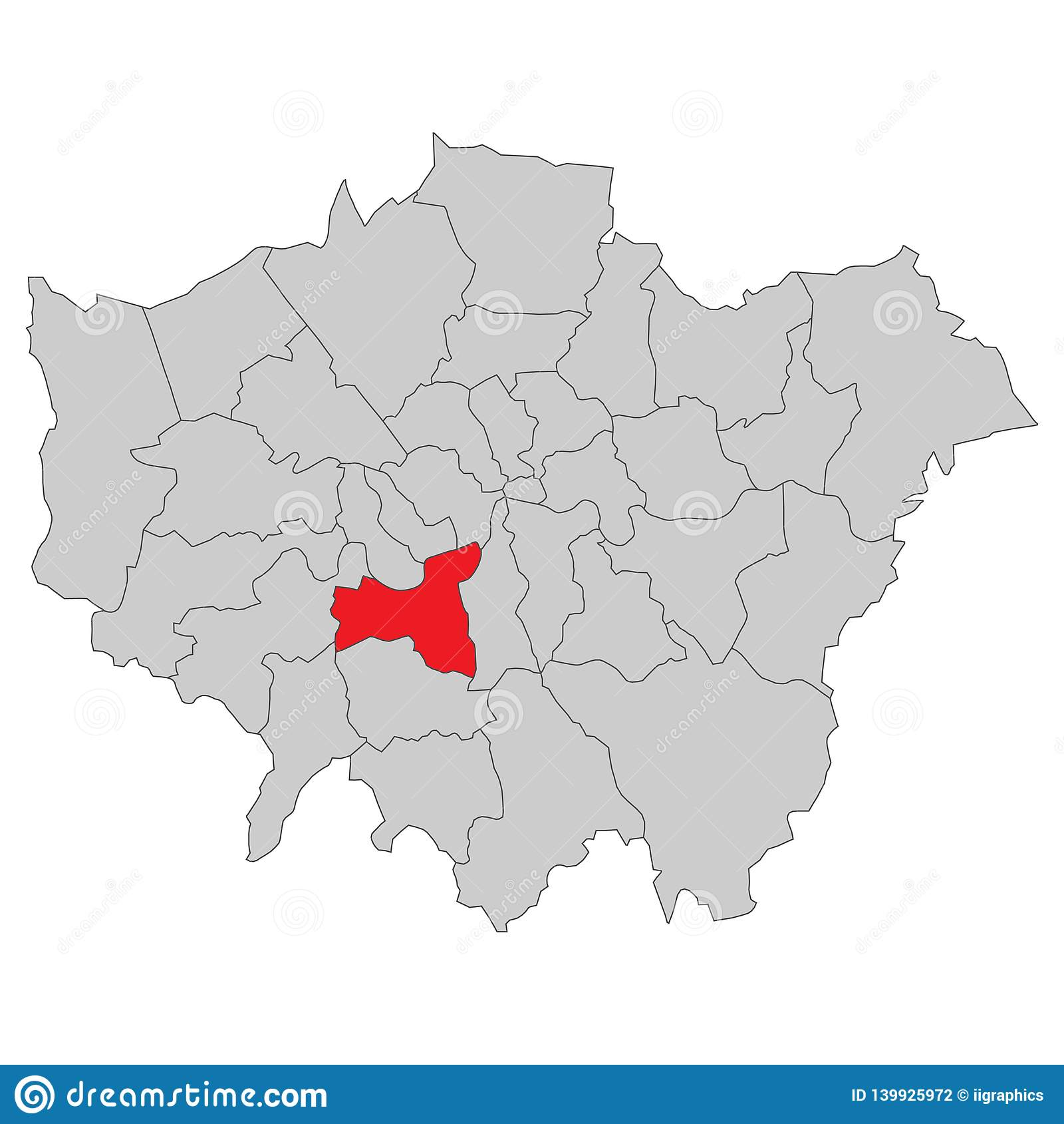 London Great Britain Map.Great Britain Map Of London High Detailed Stock Illustration