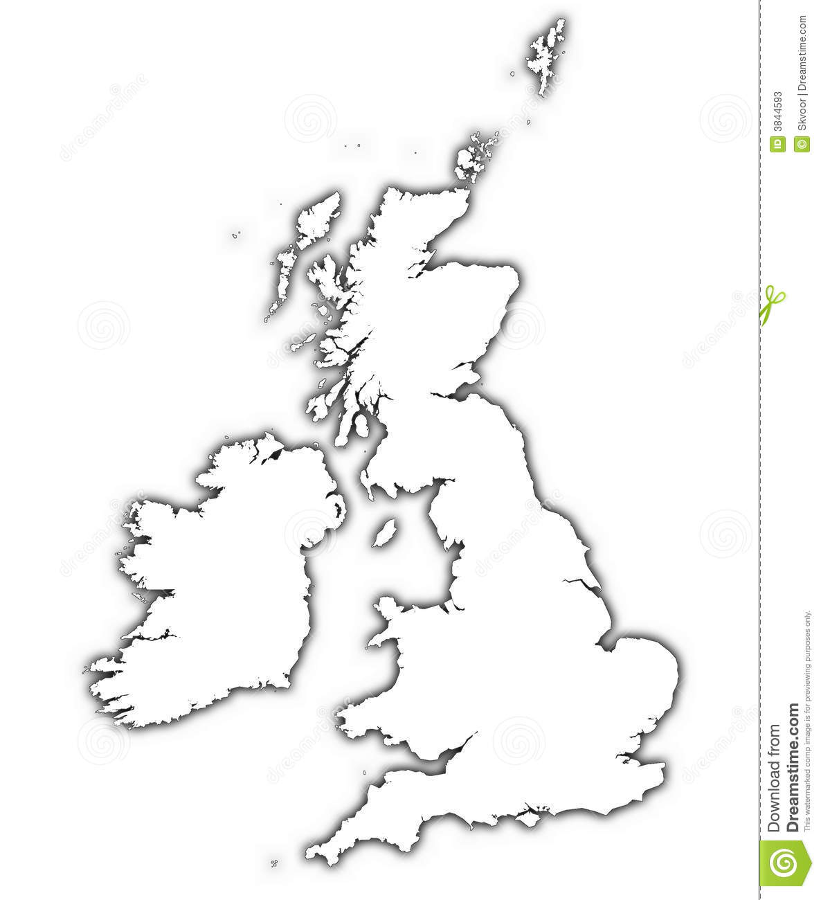 Great Britain Map With Shadow Stock Illustration - Illustration of ...