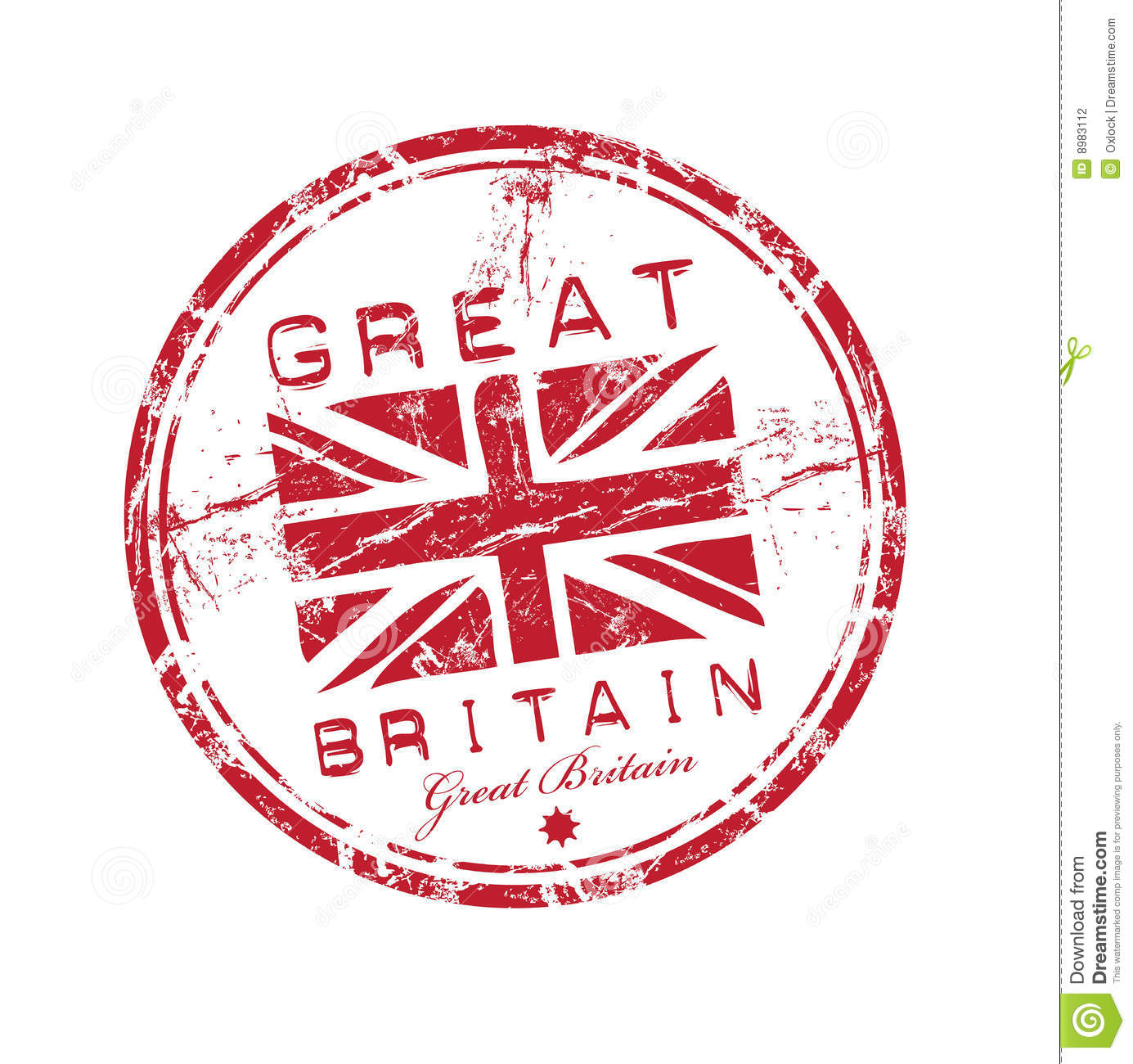 Abstract red grunge rubber stamp with the name of Great Britain ...