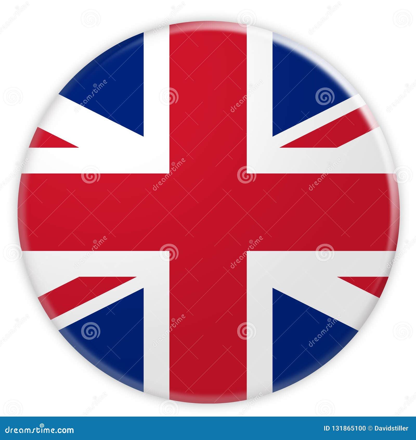 Great Britain Union Jack Flag Button, 3d illustration