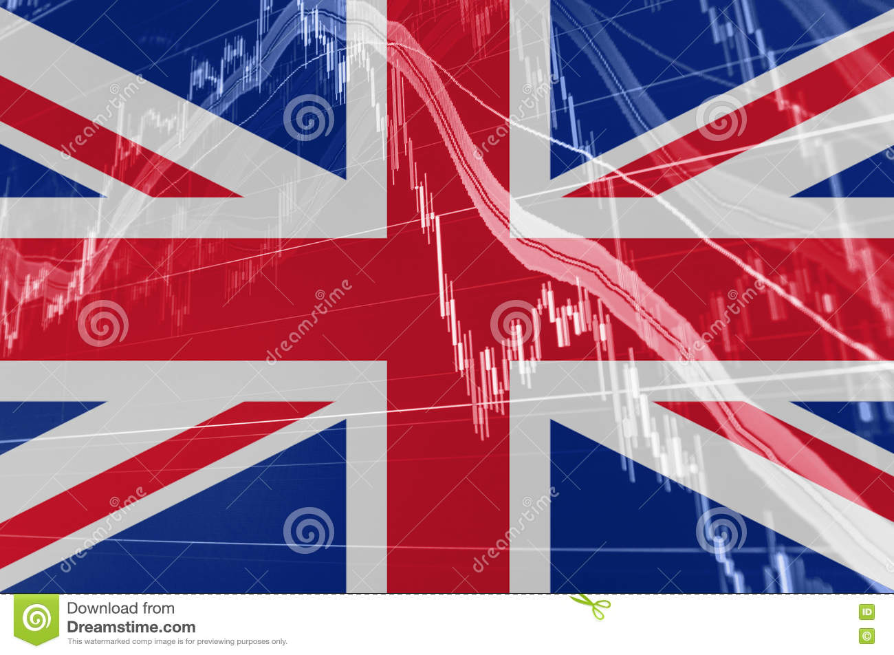 Great Britain Union Jack flag with stock exchange chart graph indicating Brexit