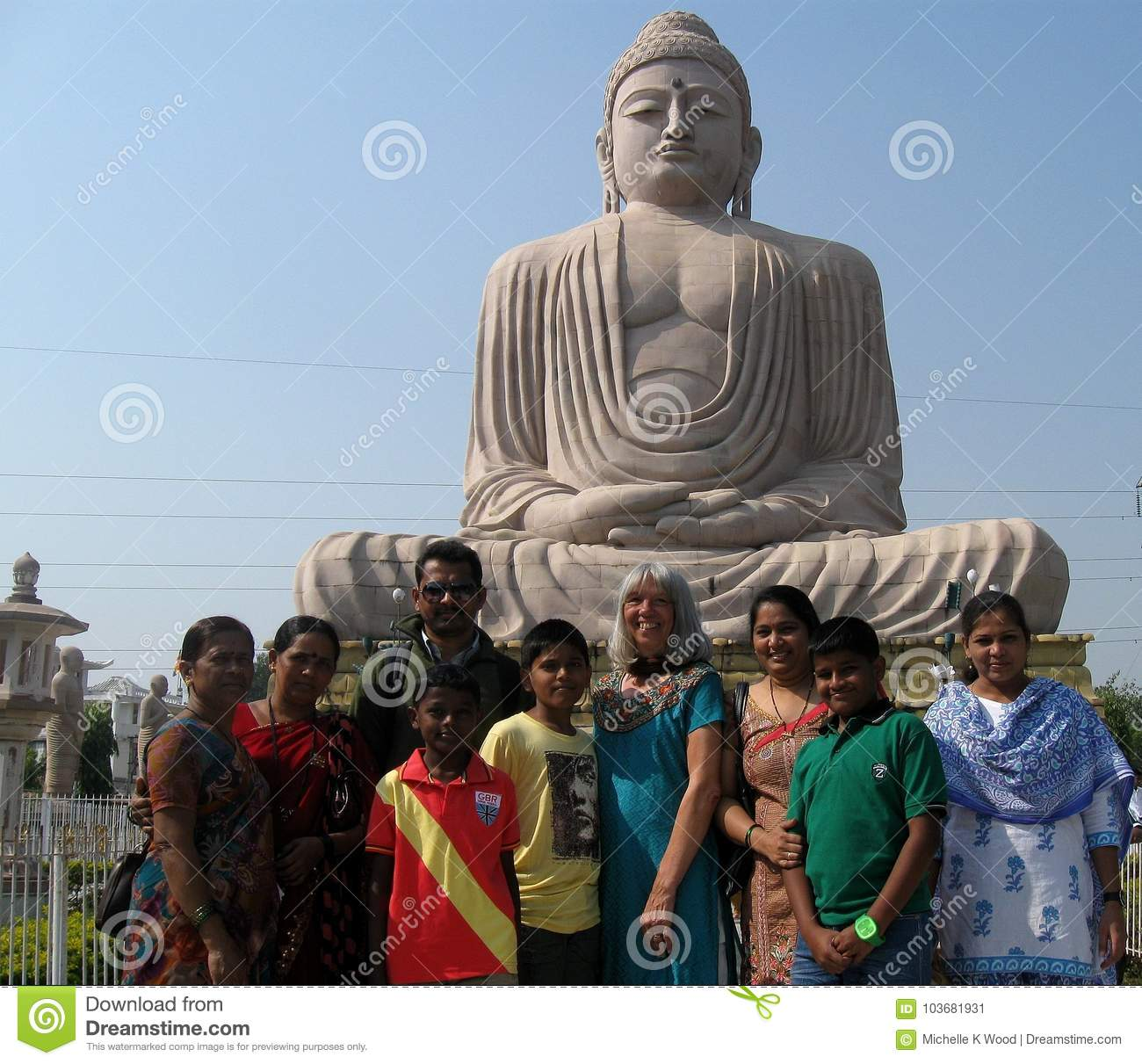 Great Buddha Statue Indian Family Caucasian Woman