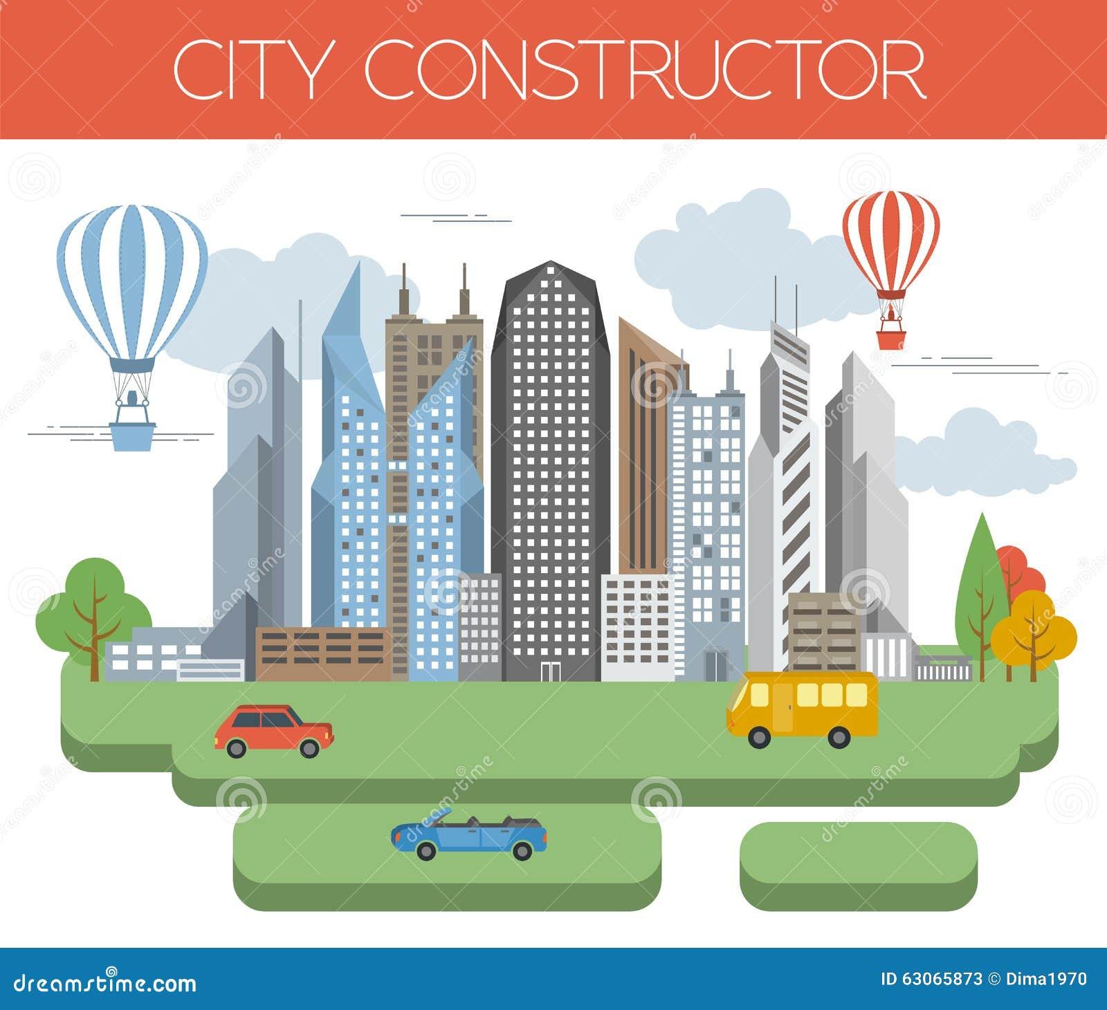 Great City Map Creator Colour Version Stock Vector
