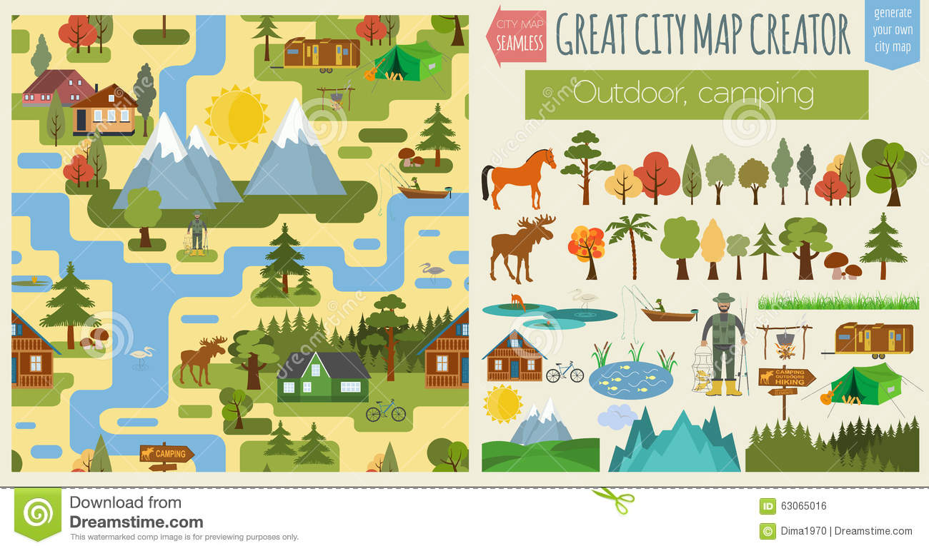 Great City Map Creator Seamless Pattern Map Camping