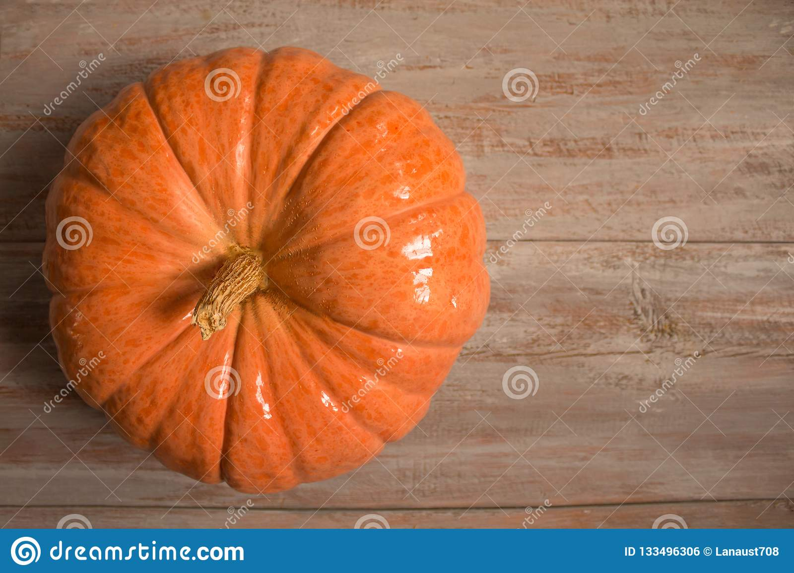 Great orange pumkin on the wooden boards.