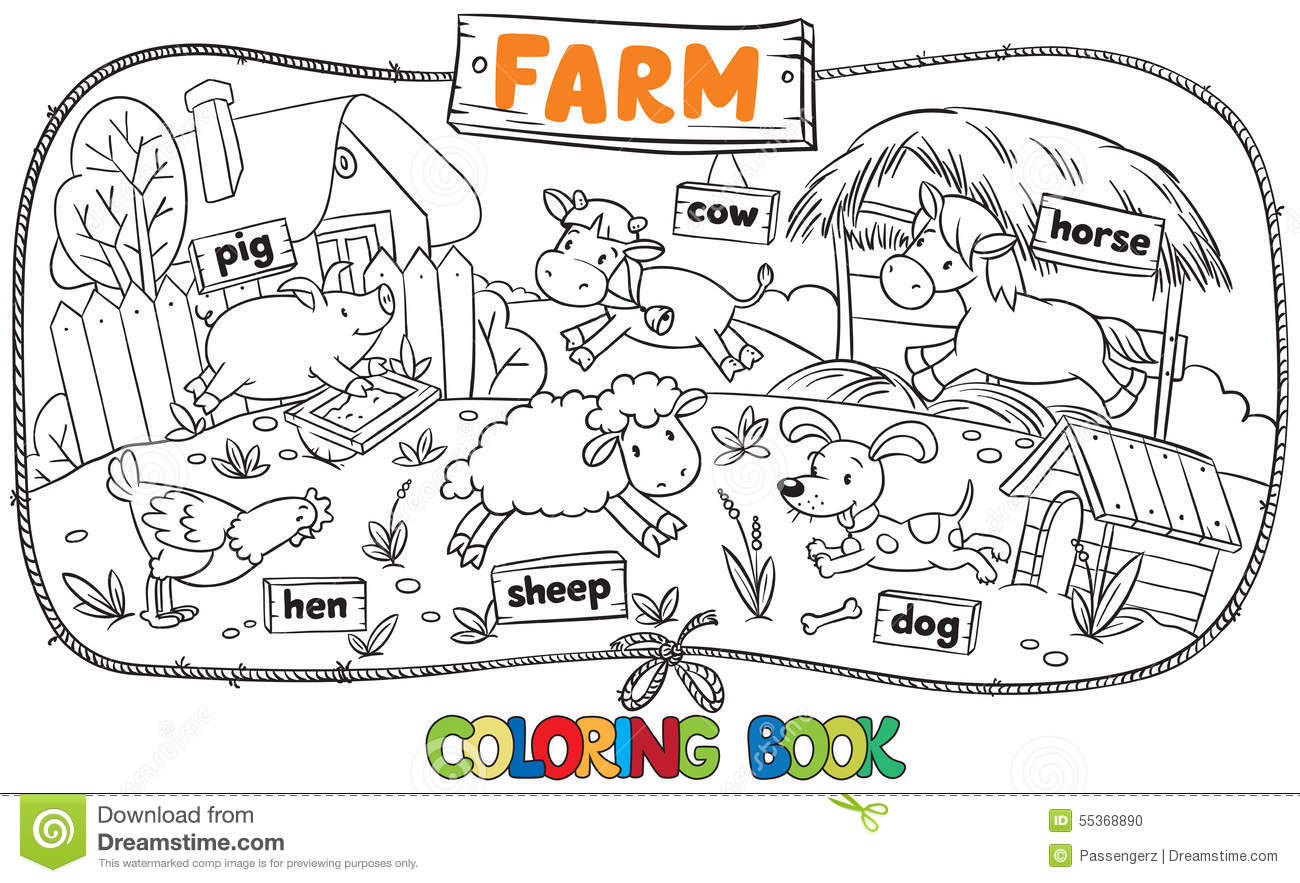 great coloring book with farm animals stock vector image 55368890