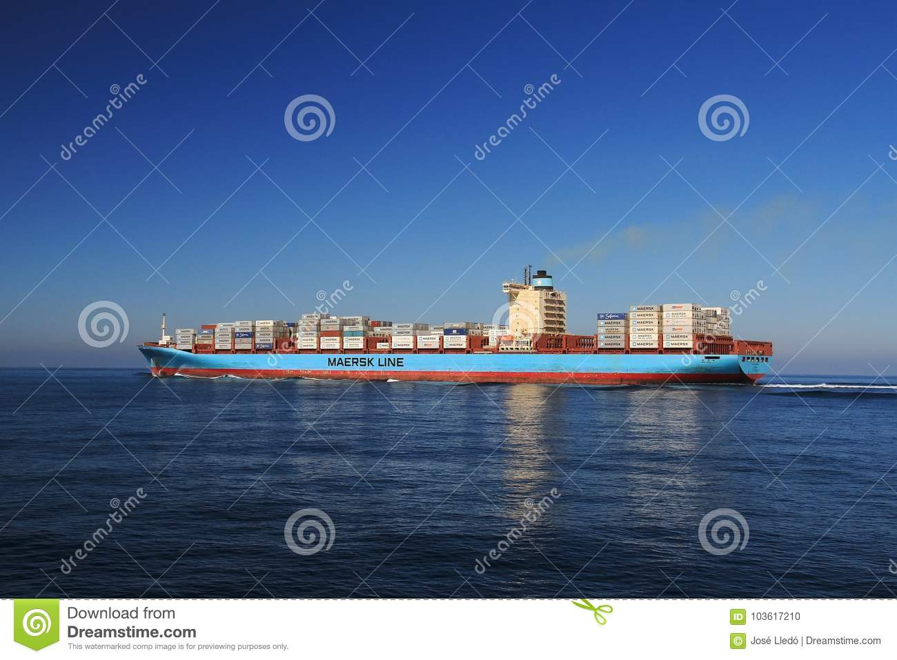 Containership Gunhilde Maersk Sailing In Open Waters  Editorial