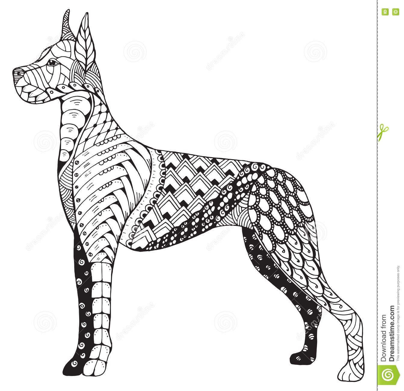 Great dane dog zentangle stylized freehand pencil hand for Great dane coloring pages