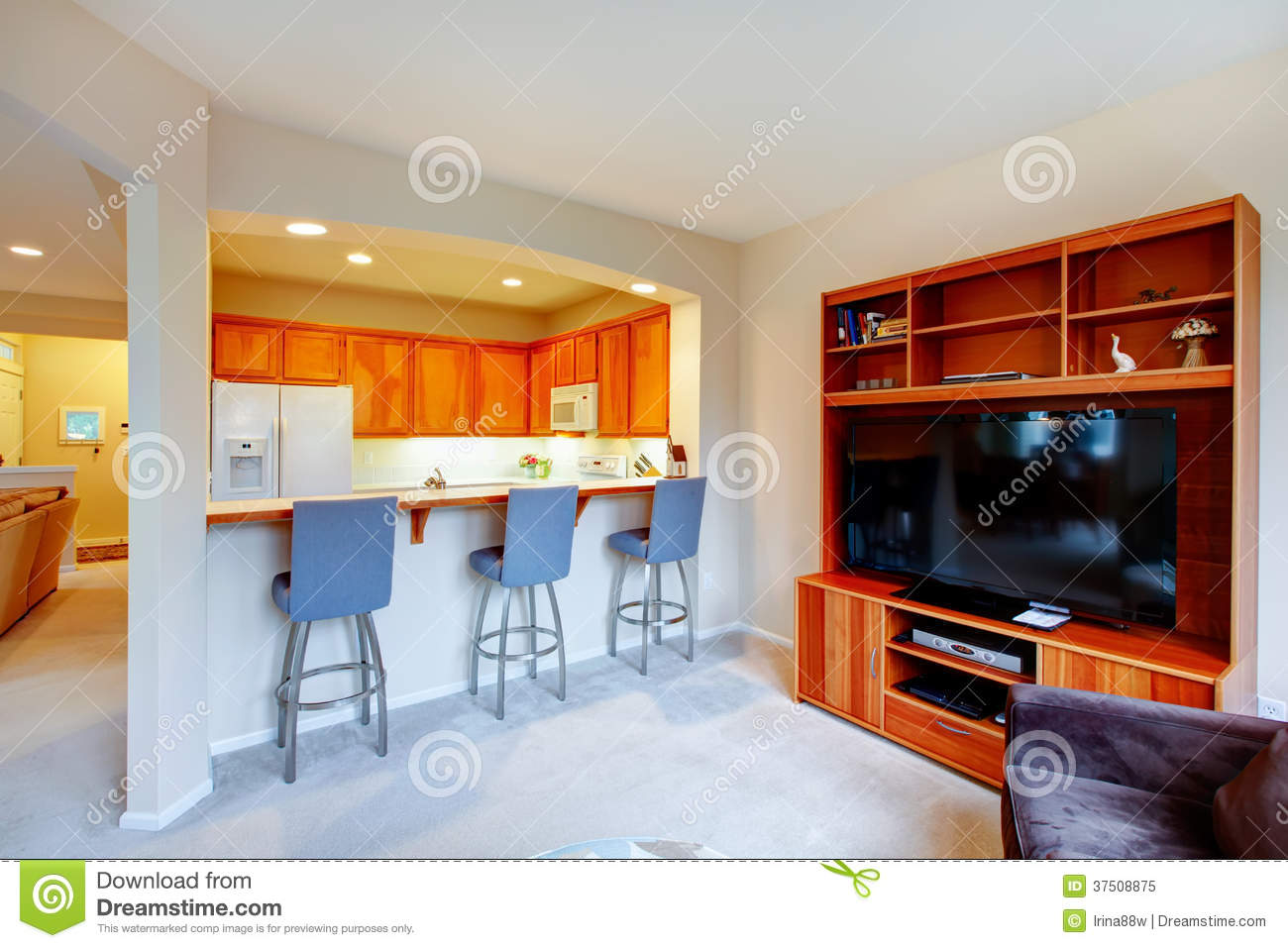great design for house with an open wall between kitchen and li stock image image of brown. Black Bedroom Furniture Sets. Home Design Ideas