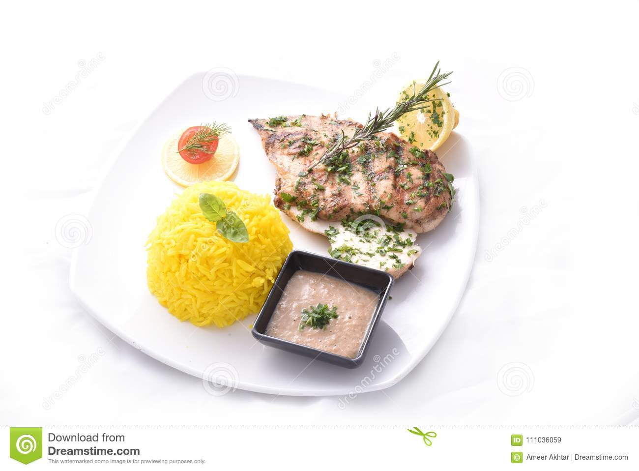 Diet Grilled Chicken Breast With Kabsa Rice Stock Image Image Of