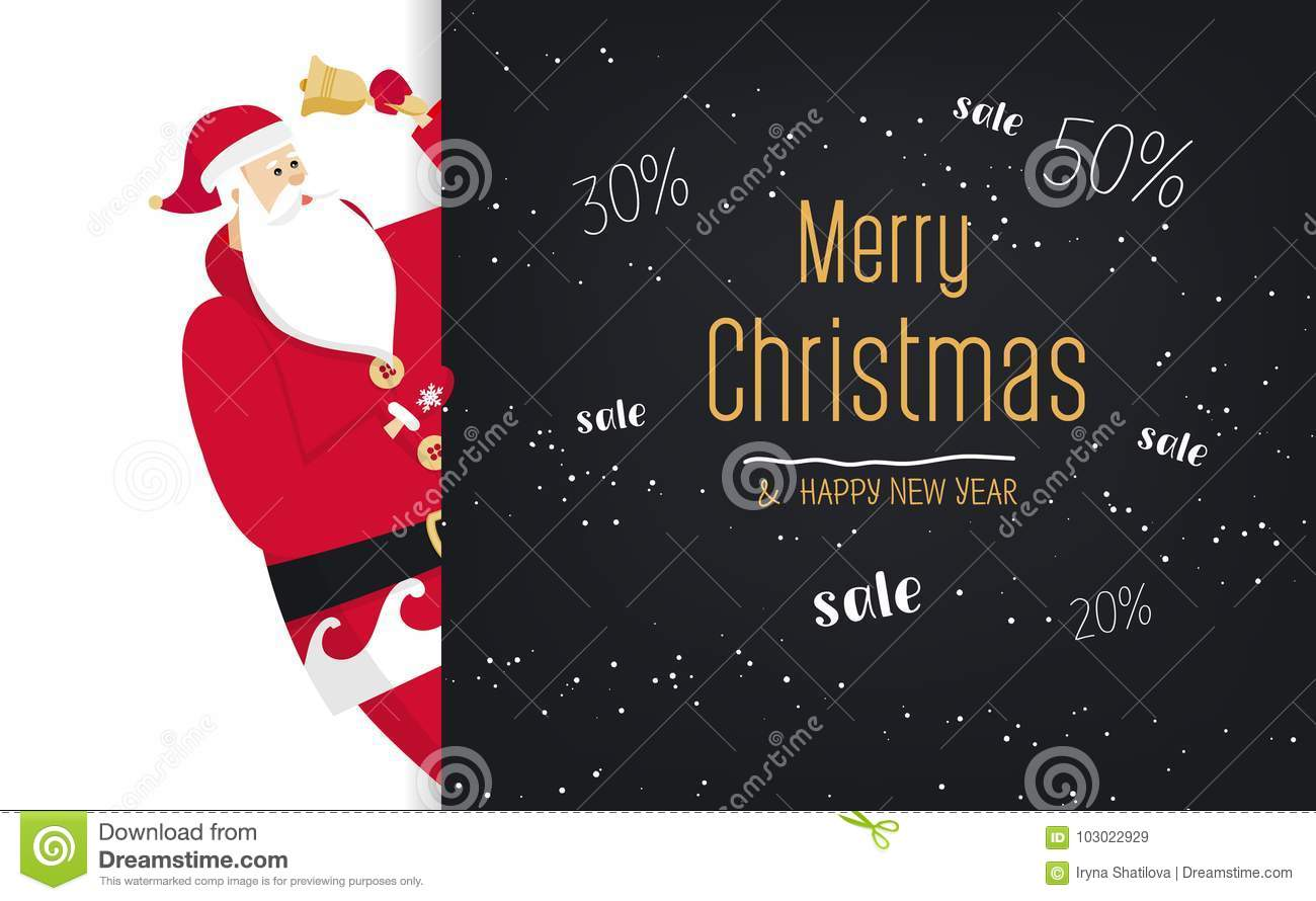 Merry Christmas Santa Rings In The Bell Great Discount Banner