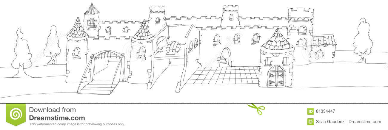 The Great Enchanted Castle With A Drawbridgechine Drawn By Color