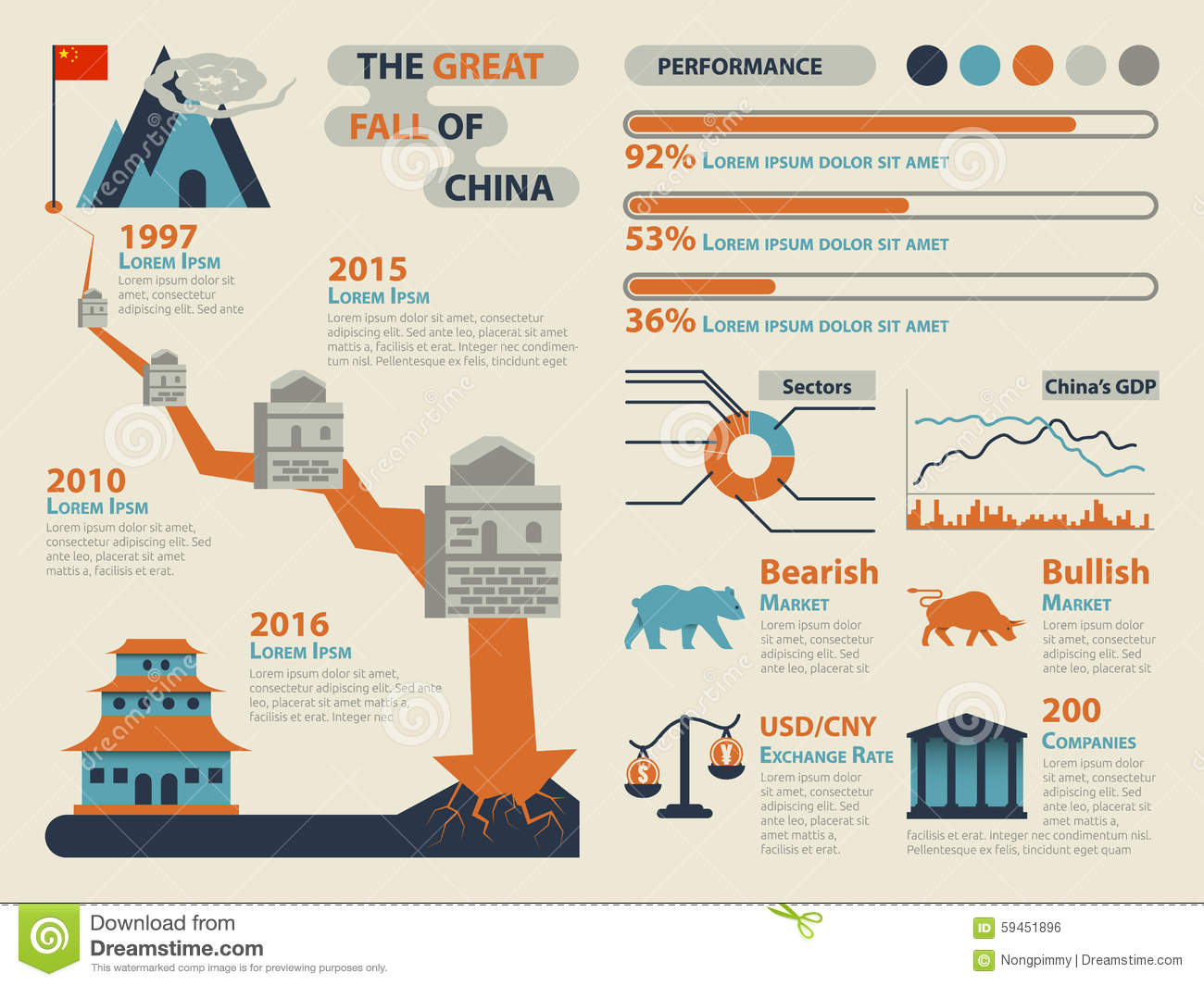 the great fall of china stock vector