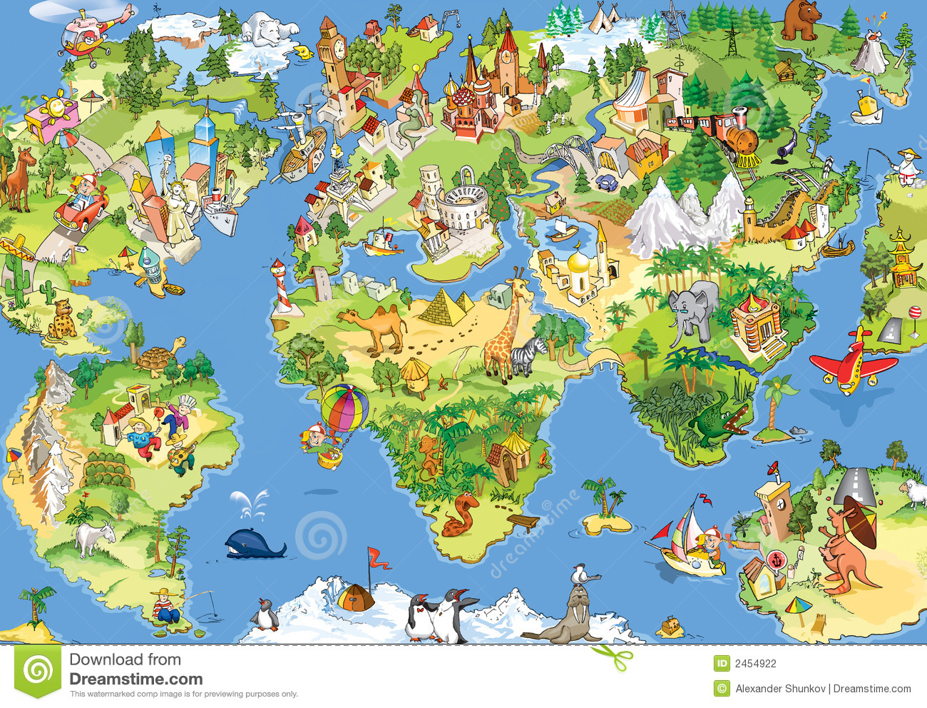 Great And Funny World Map Stock Photography - Image: 2454922