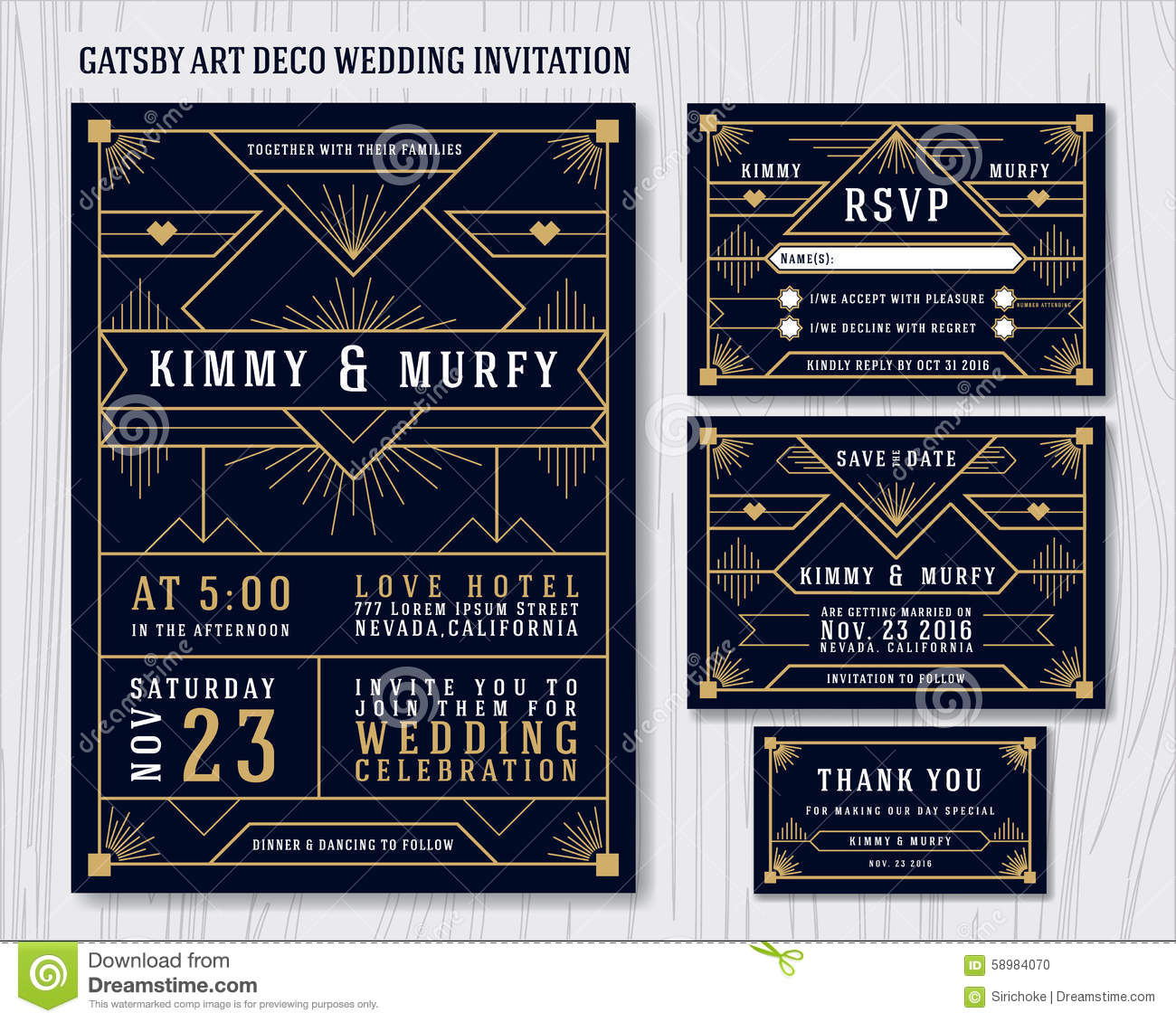 Art deco gatsby stock vector illustration of black orange 43449572 great gatsby art deco wedding invitation design template stock photo toneelgroepblik Gallery