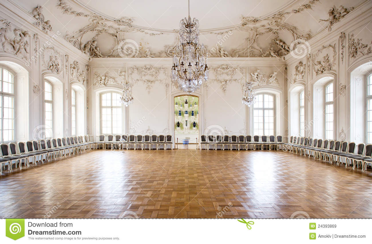 Great Hall Ballroom In Rundale Palace Royalty Free Stock