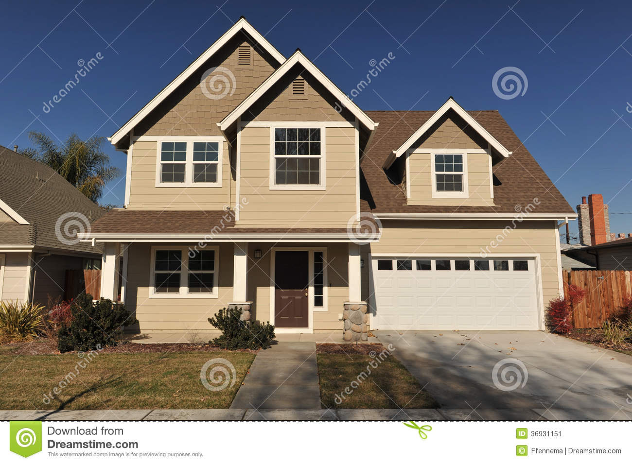 Great House With Two Stories And Trees On Side Stock Image