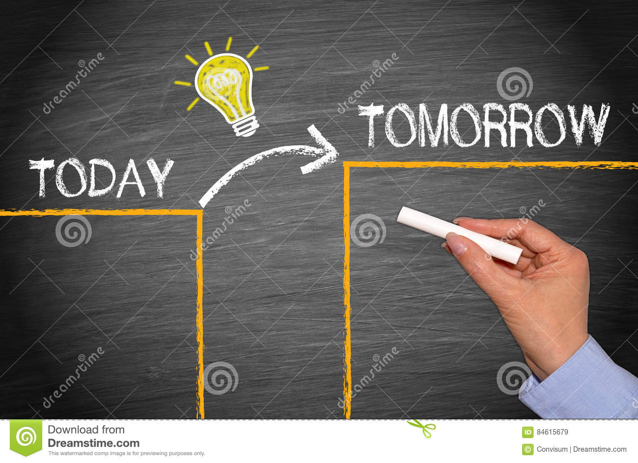 Great idea concept today and tomorrow stock image for Best time to fish tomorrow