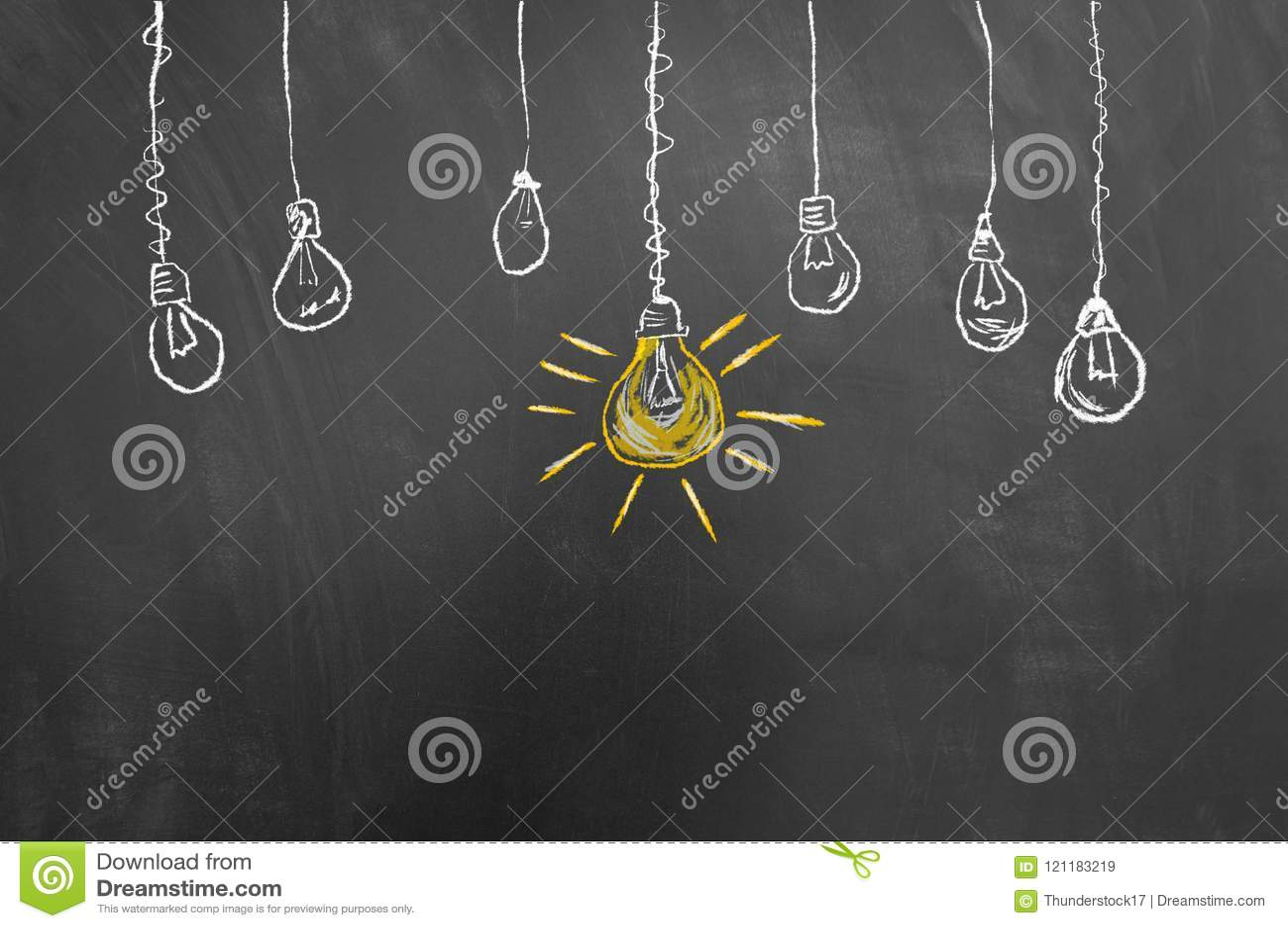 Great idea light bulb drawing on blackboard or chalkboard