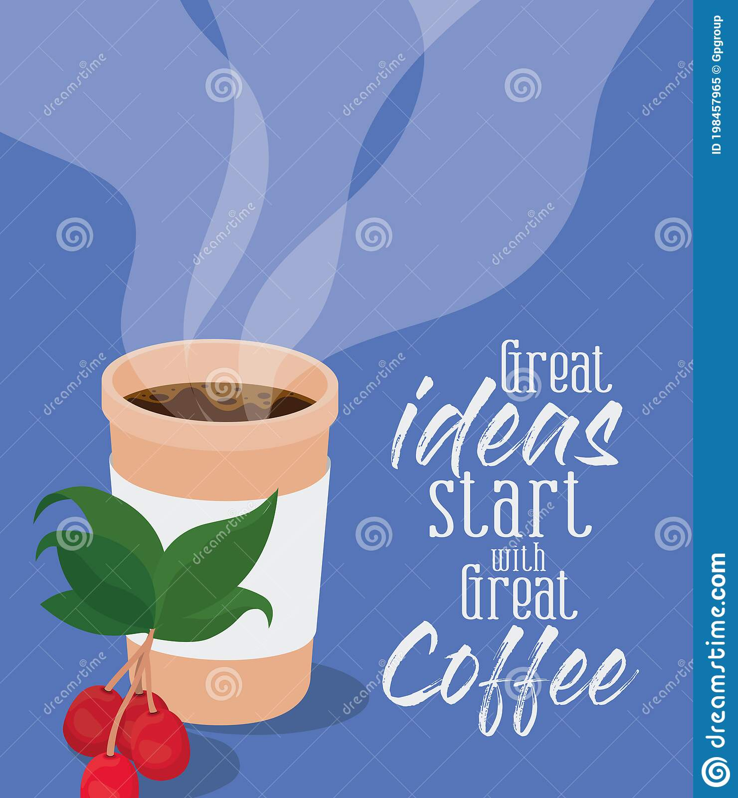 Great Ideas Start With Great Coffee And Mug Vector Design Stock Vector Illustration Of Restaurant Decoration 198457965