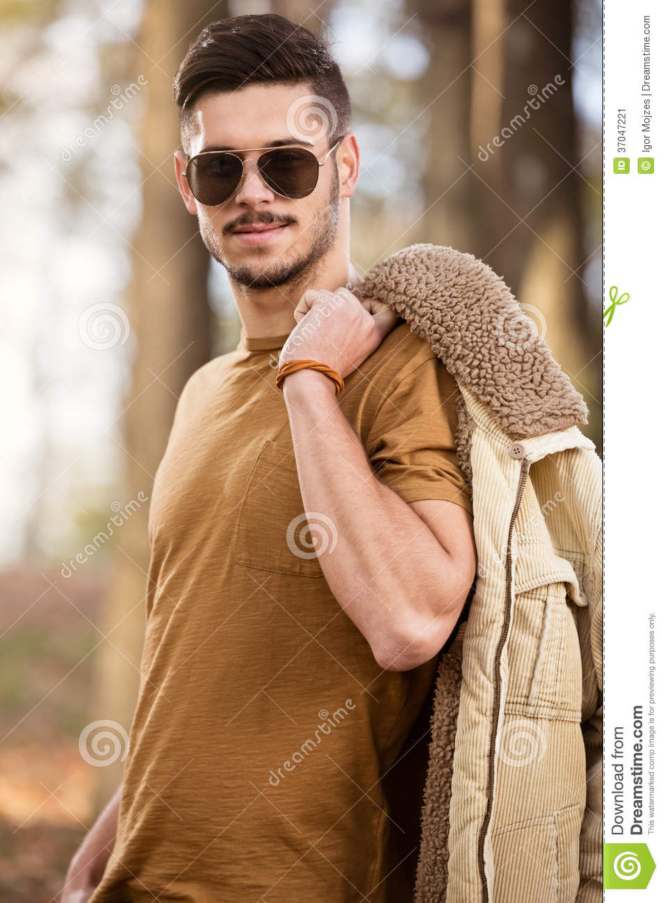 Stock Image: Great looking male model outdoor