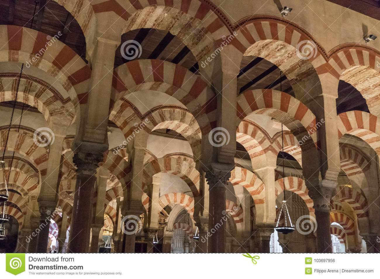 the great mosque cathedral of cordoba interior editorial photo