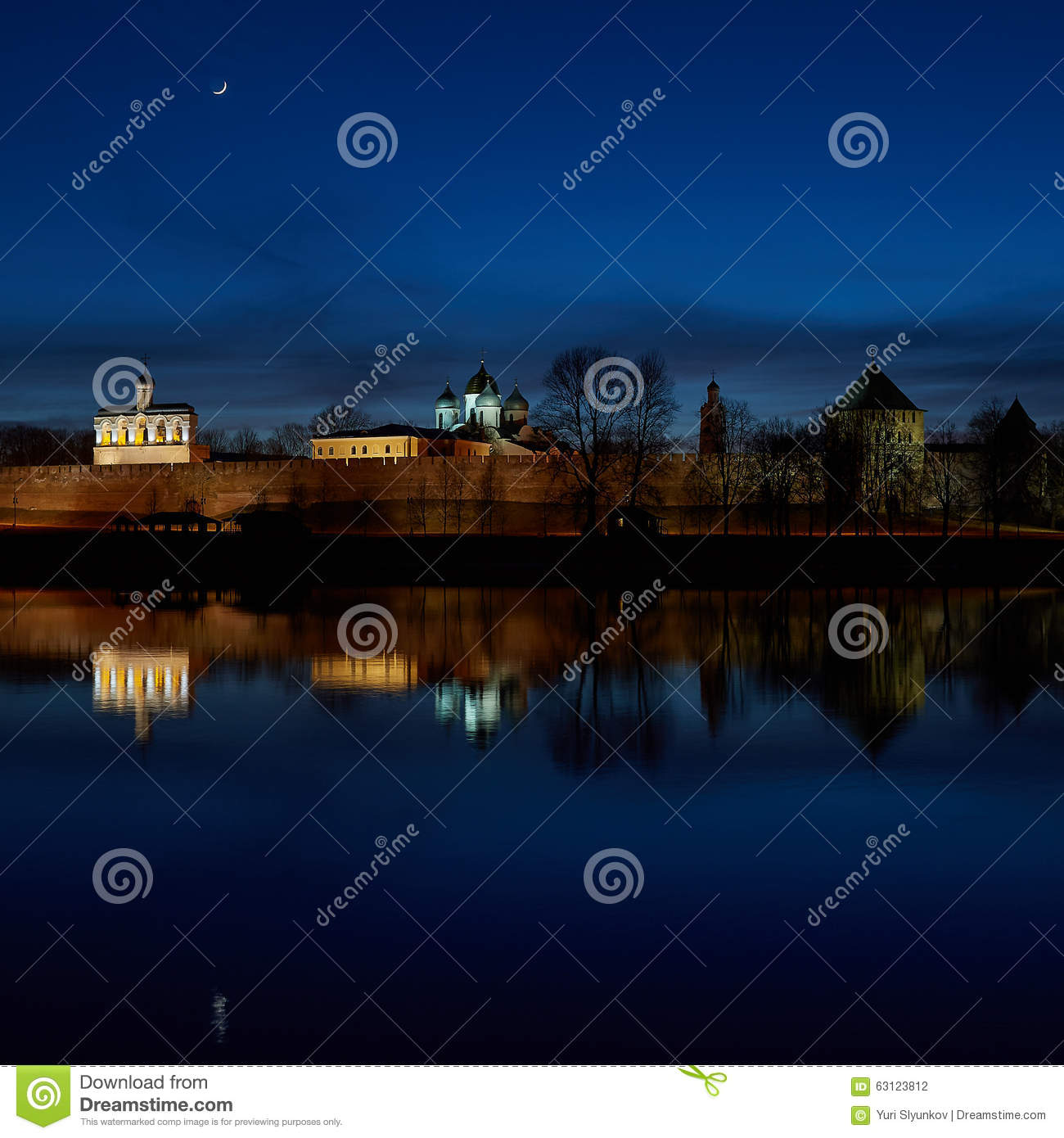 Great Novgorod. Night, the Fortress. River Volkhov
